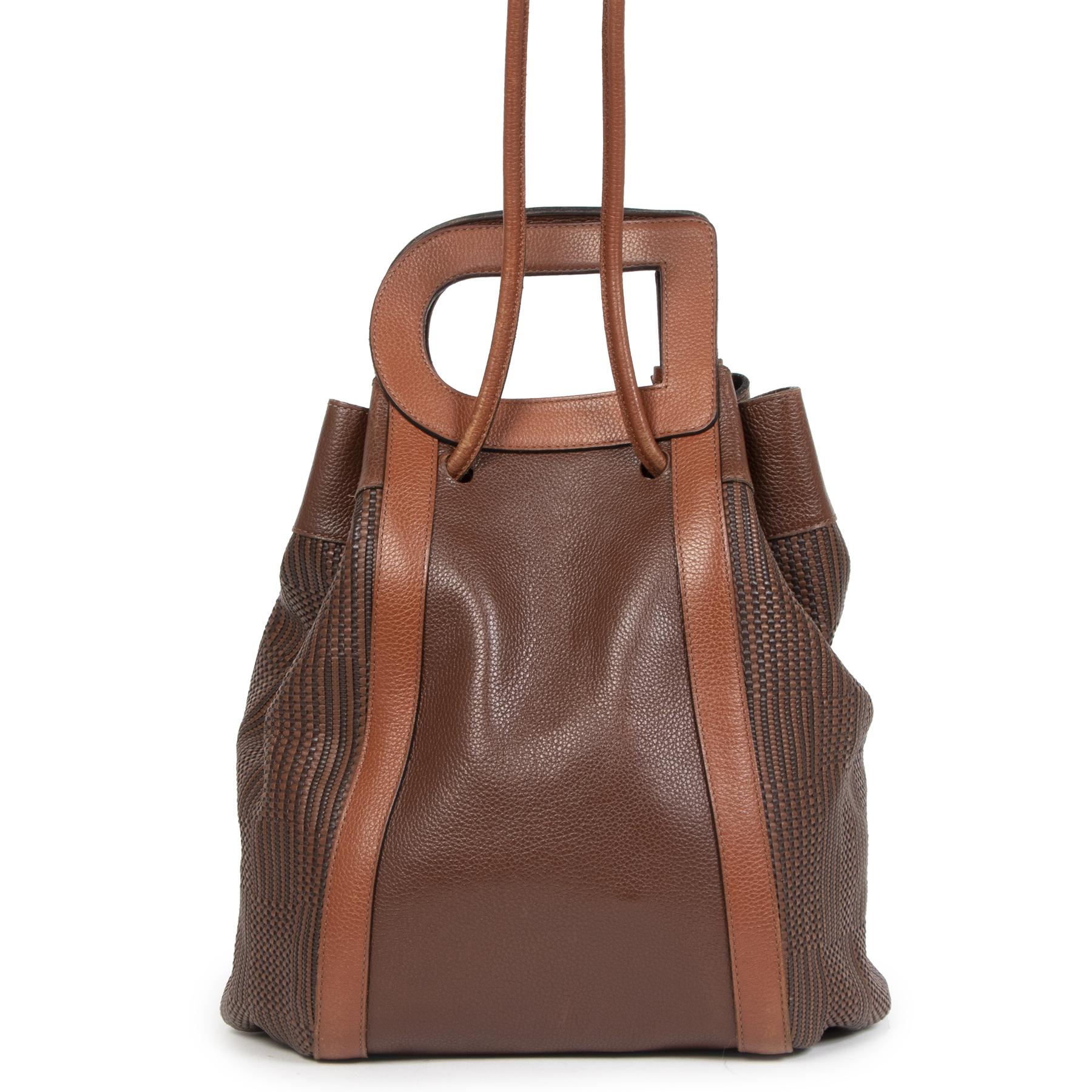 Authentique seconde-main vintage Delvaux Camel Caraïbes Toile De Cuir Bag achète en ligne webshop LabelLOV