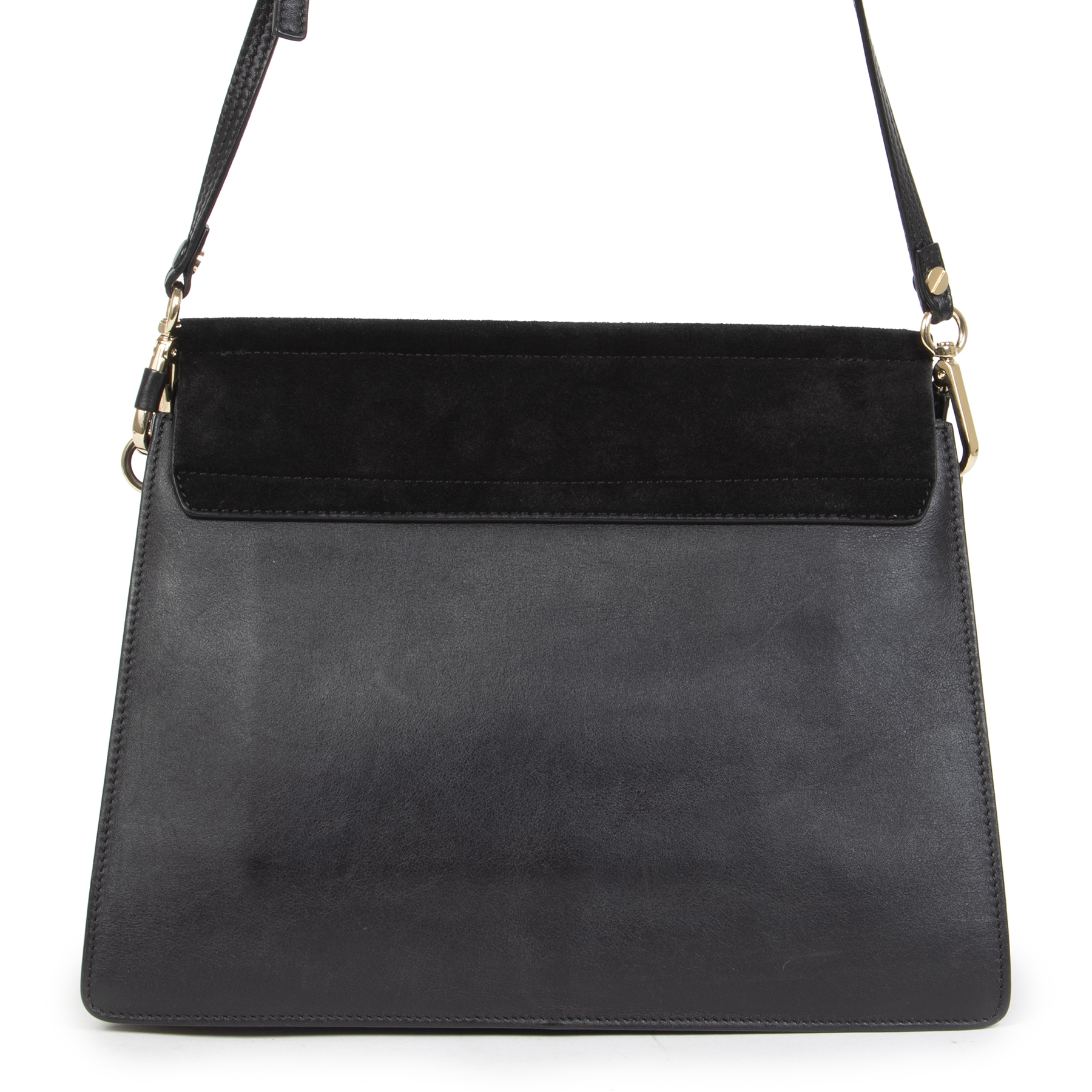 Authentic secondhand Chloé Black Faye Suede Medium Bag designer bags luxury vintage webshop designer brands luxury vintage webshop safe secure online shopping