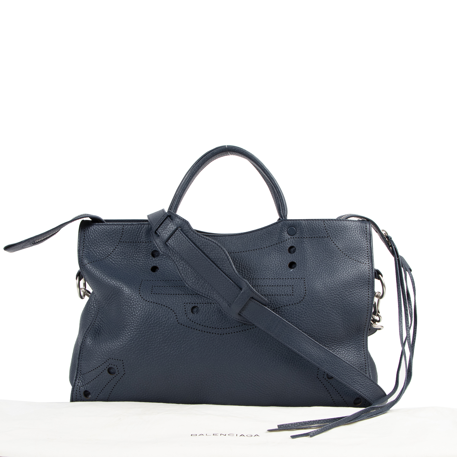 Are you looking for an authentic Balenciaga Blue Leather Blackout City Bag