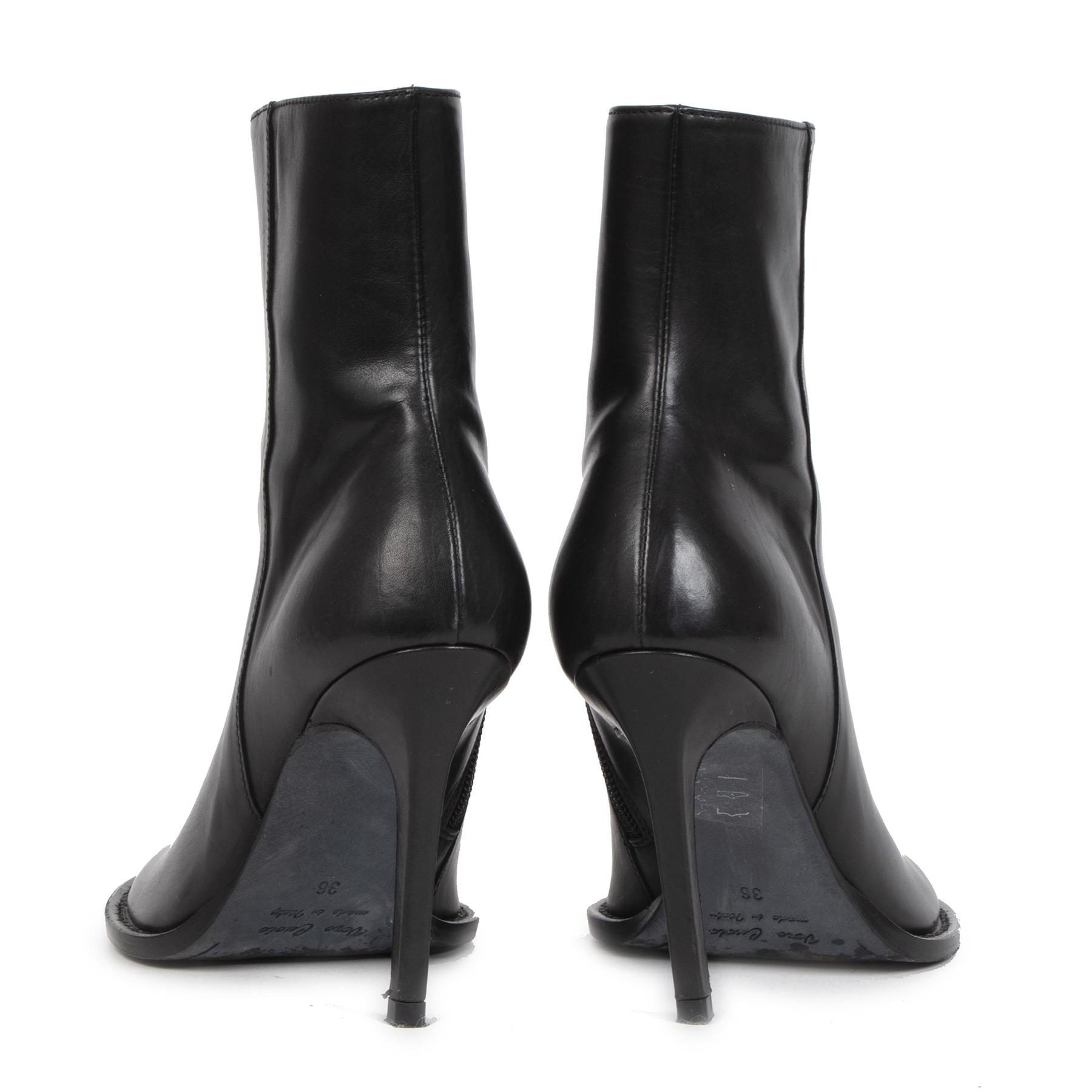Authentieke tweedehands vintage Ann Demeulemeester Black Heeled Boots - Size 36 koop online webshop LabelLOV