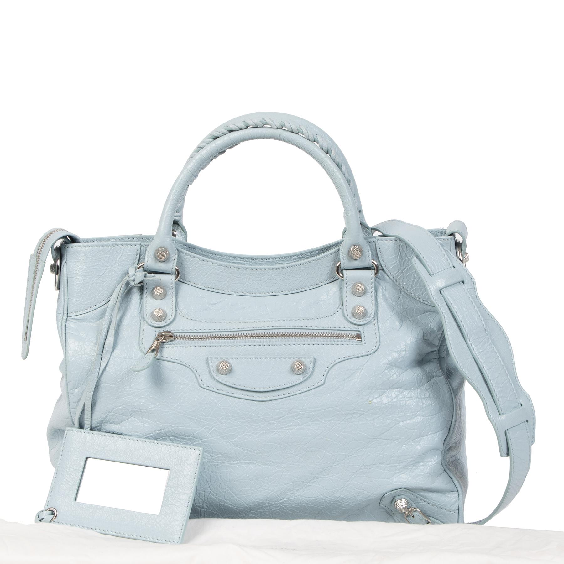 Authentieke tweedehands vintage Balenciaga Baby Blue Velo Bag koop online webshop LabelLOV