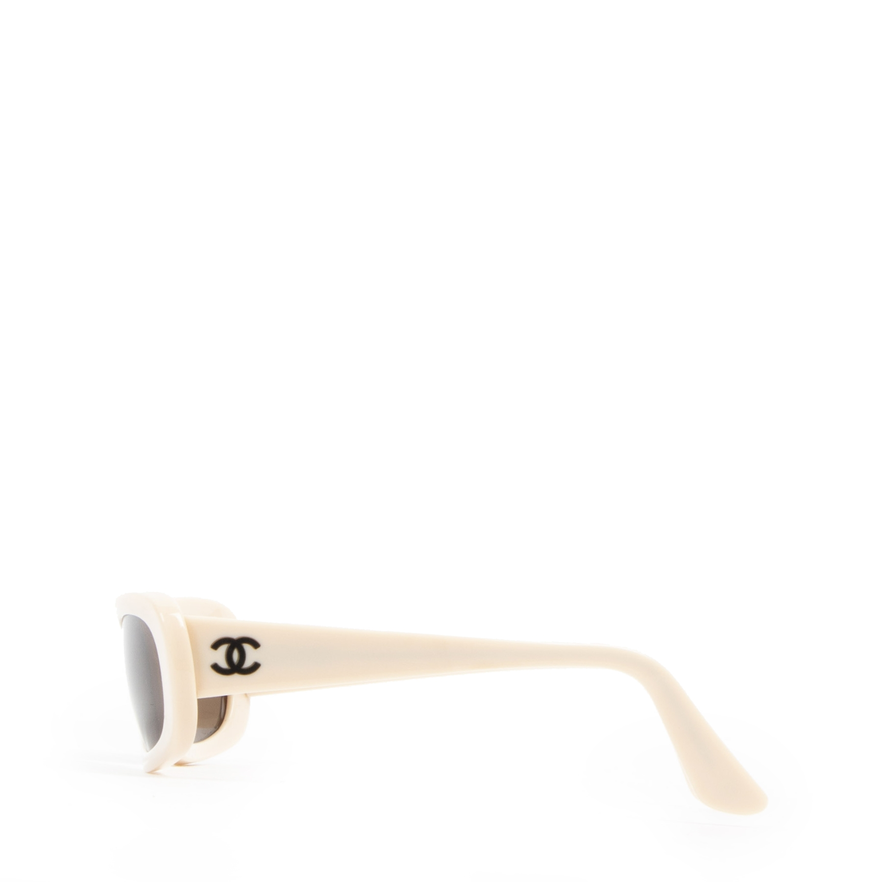 Authentieke tweedehands vintage Chanel Beige CC Logo Sunglasses koop online webshop LabelLOV