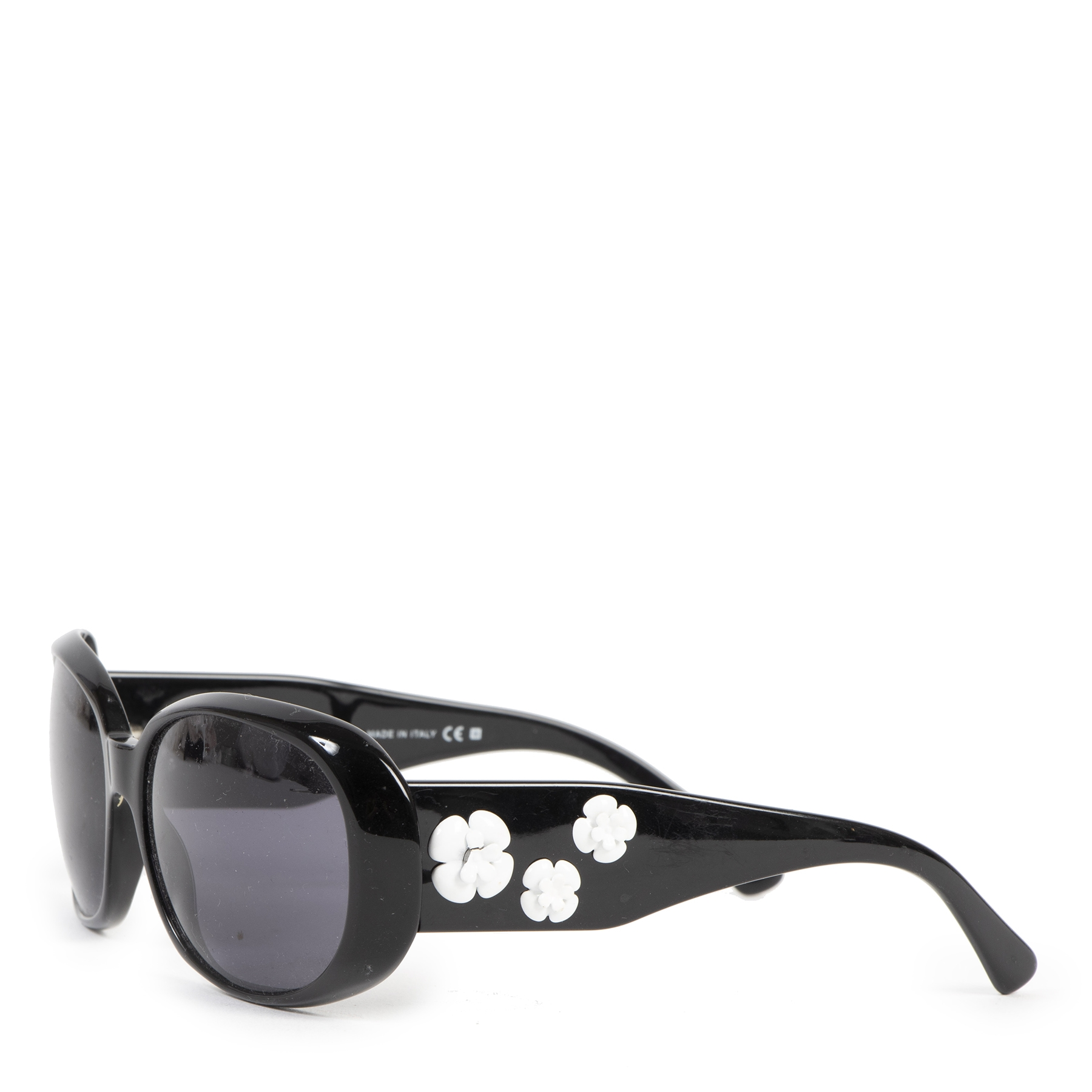 Authentic secondhand Chanel Black Camellia Flower Sunglasses designer accessories designer brands fashion luxury vintage webshop safe secure online shopping