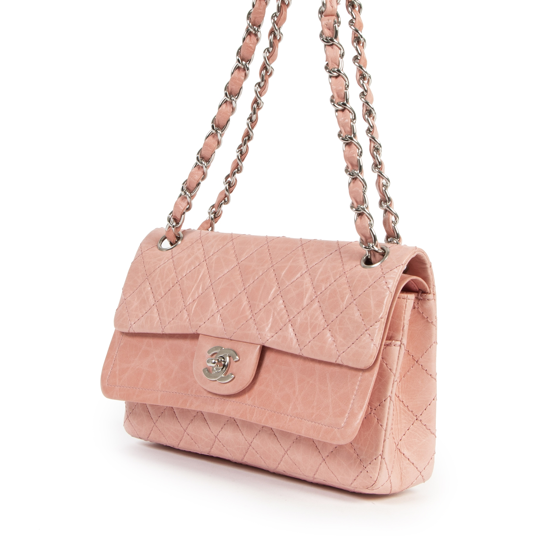 acheter en ligne seconde main Chanel Pink Classic Double  Flap Bag