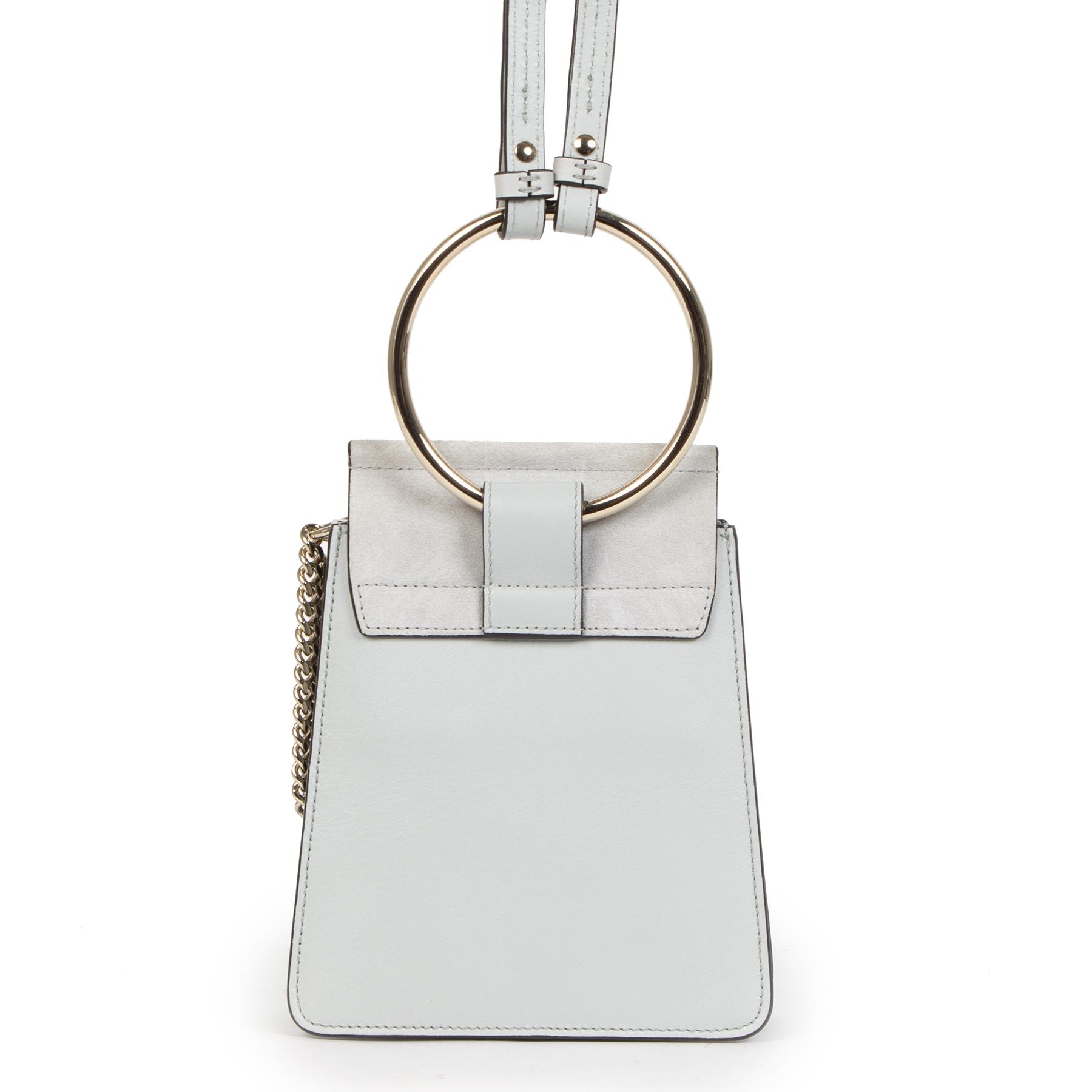 Authentieke Tweedehands Chloé Airy Grey Faye Mini Bag juiste prijs veilig online shoppen luxe merken webshop winkelen Antwerpen België mode fashion