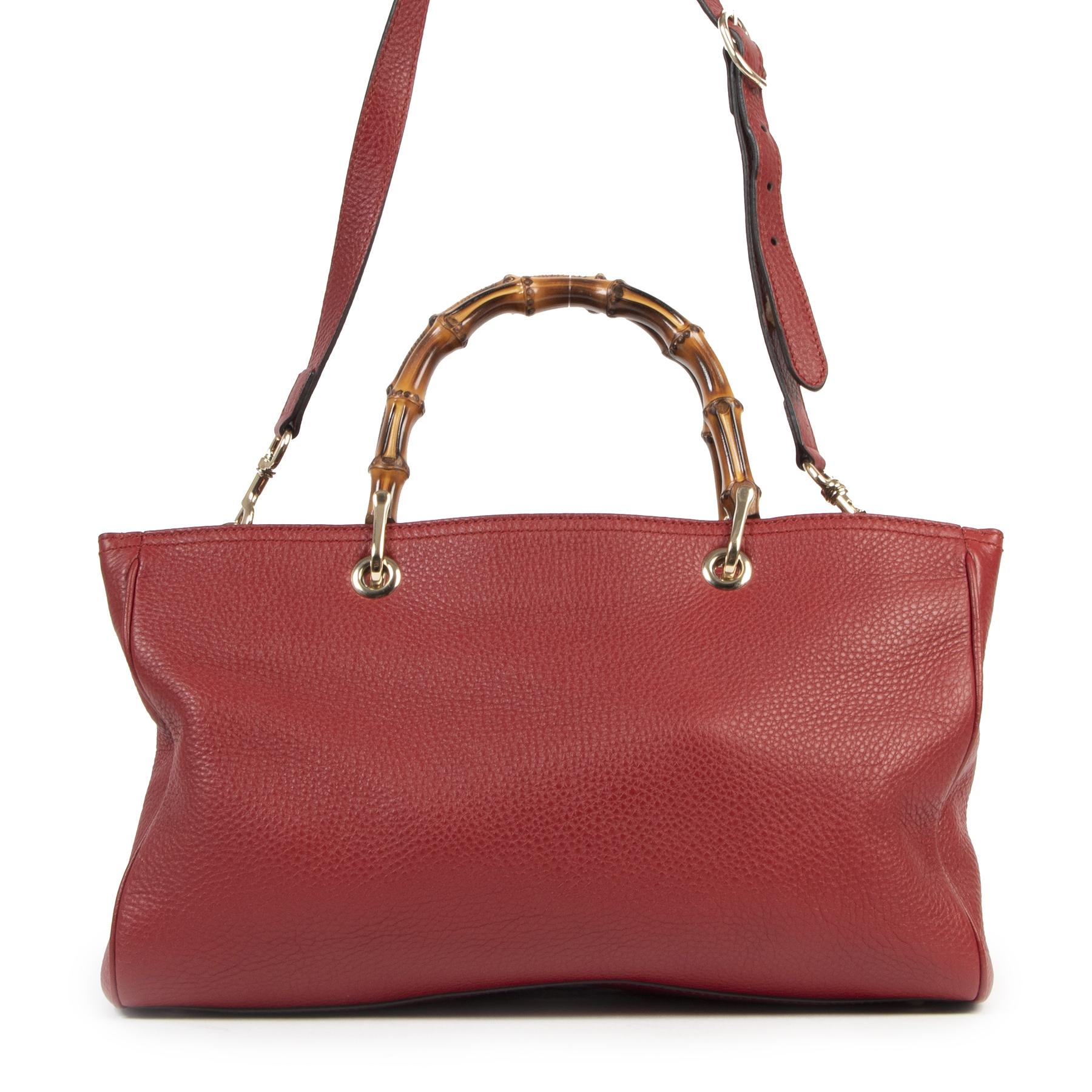 Authentieke Tweedehands Gucci Red Bamboo Shopper Tote juiste prijs veilig online shoppen luxe merken webshop winkelen Antwerpen België mode fashion