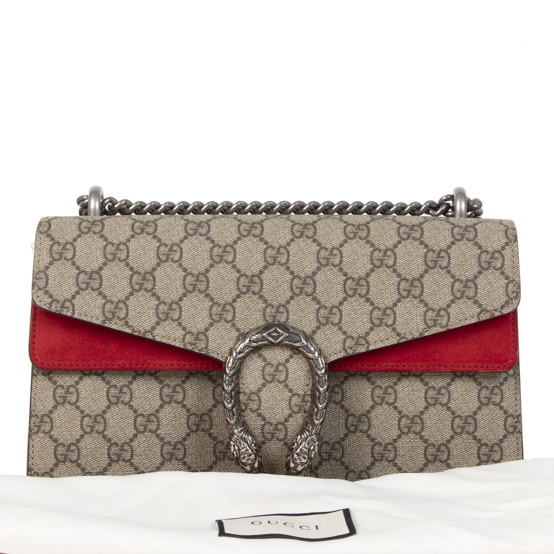 Koop uw authentieke designer Gucci Dionysus GG Supreme Coated Canvas and Red Suede Suede schoudertas online