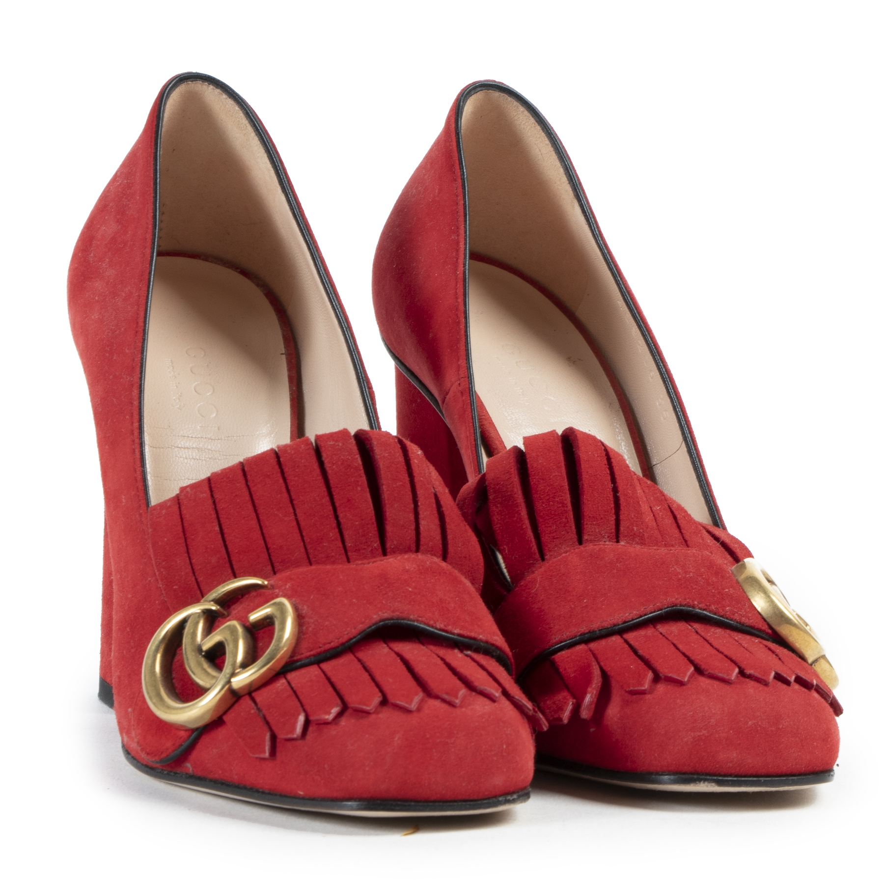 Gucci Marmont Red Suede Pumps
