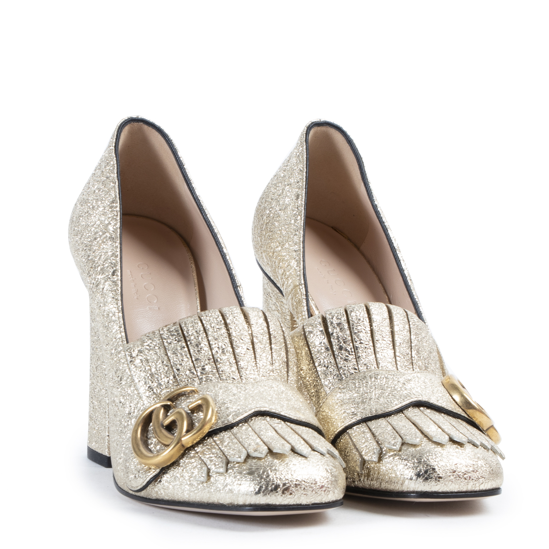 We buy and sell your authentic Gucci Marmont Metallic Gold Pumps