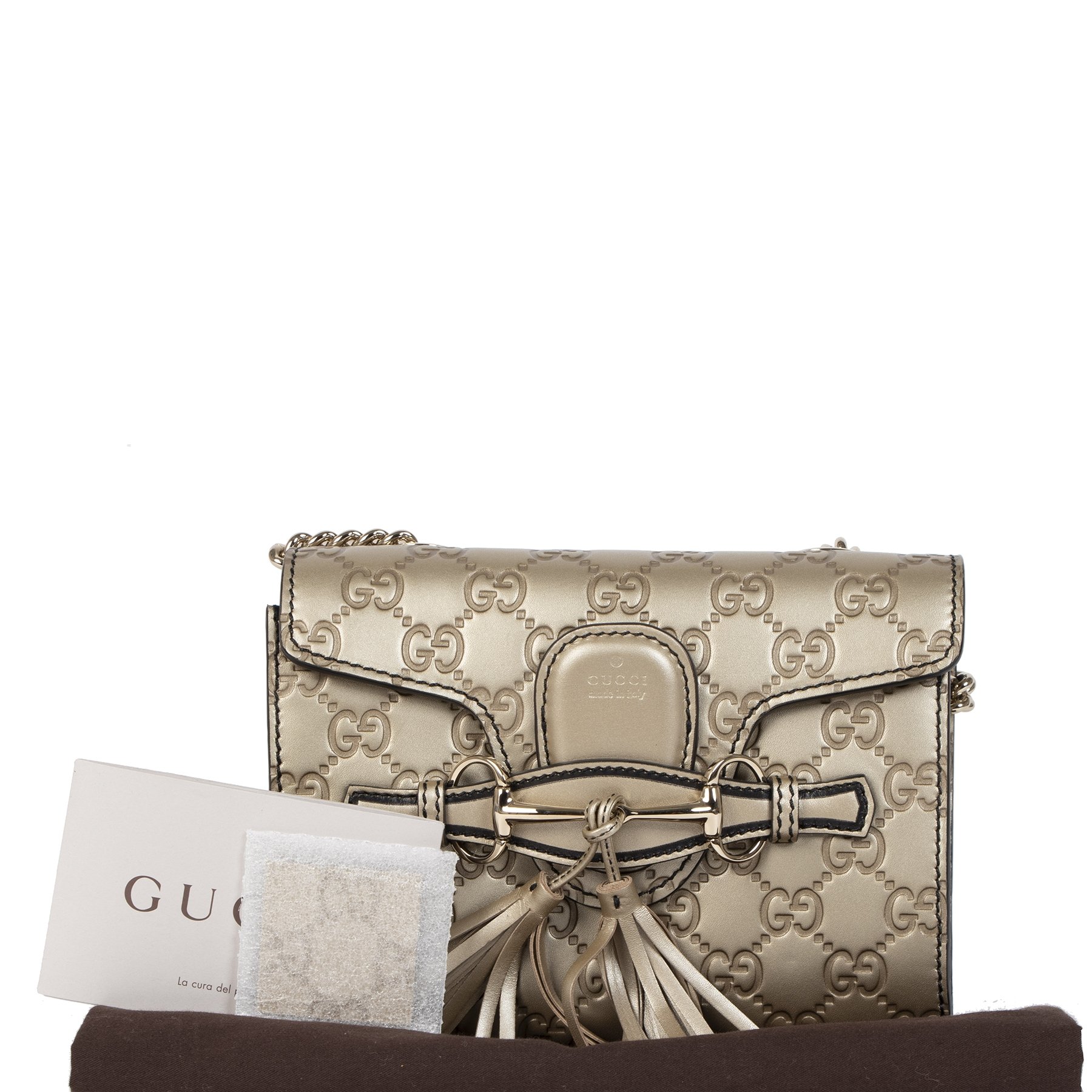 Authentieke tweedehands vintage Gucci Emily Guccissima Bronze Crossbody Bag koop online webshop LabelLOV