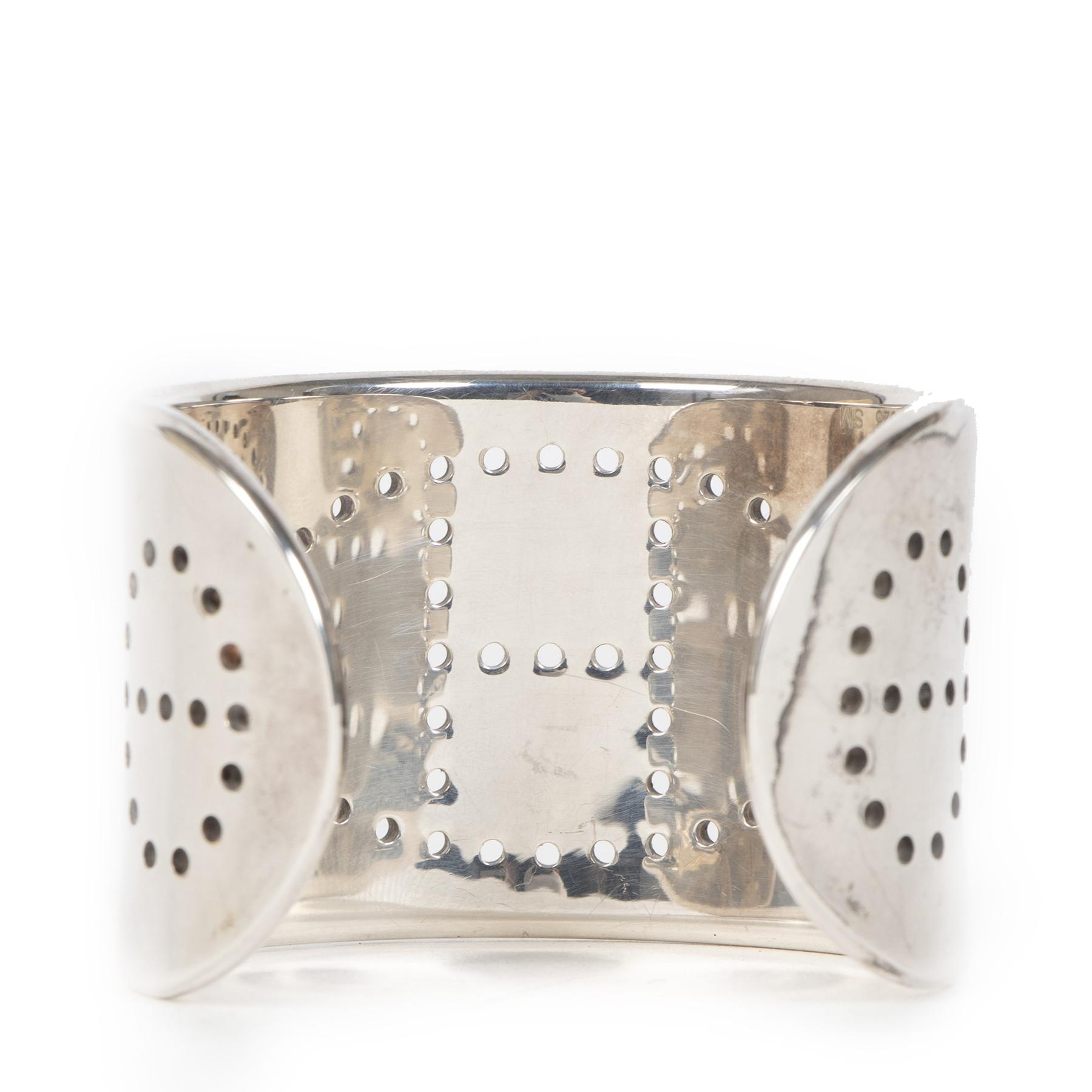 Authentieke Tweedehands Hermès Sterling Silver Eclipse Cuff - Small juiste prijs veilig online shoppen luxe merken webshop winkelen Antwerpen België mode fashion