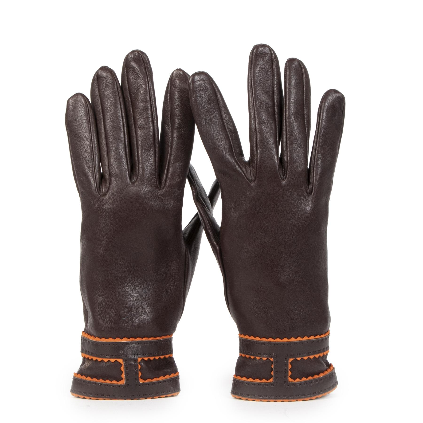Authentieke Tweedehands Hermès Brown Lambskin Leather Gloves juiste prijs veilig online shoppen luxe merken webshop winkelen Antwerpen België mode fashion