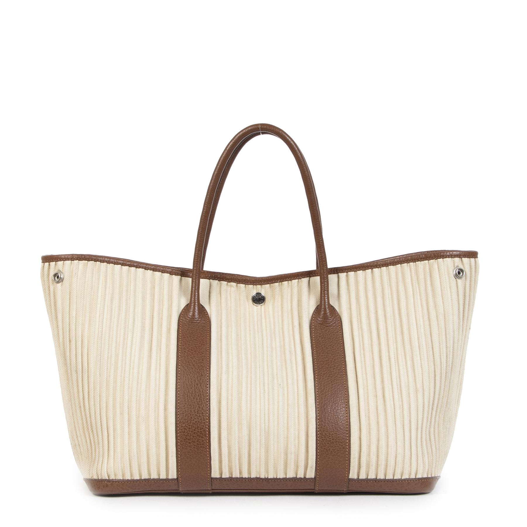 Authentieke Tweedehands Hermès Garden Party Denim Cannele Bag juiste prijs veilig online shoppen luxe merken webshop winkelen Antwerpen België mode fashion