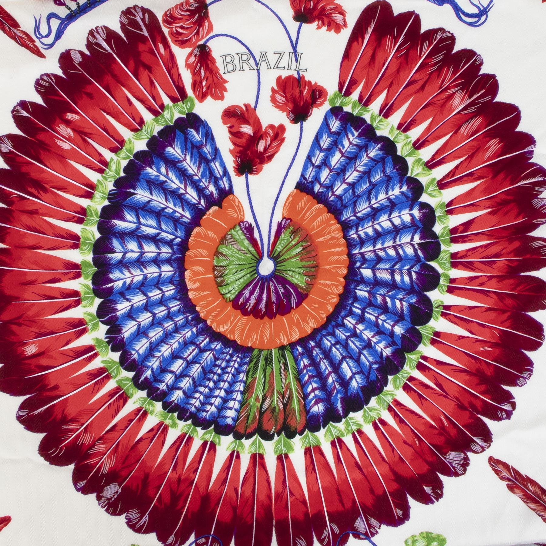 Authentic secondhand Hermès Brazil Cashmere Scarf designer accessories scarves designer brands fashion luxury vintage webshop safe secure online shopping worldwide shipping delivery