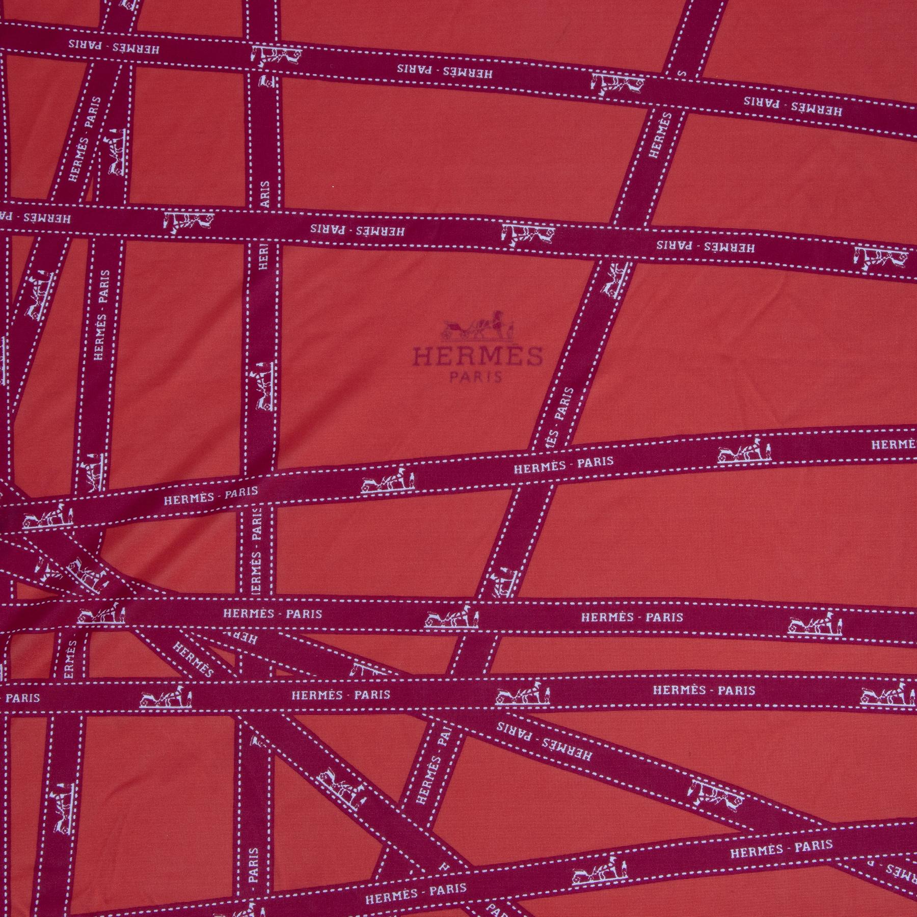 Authentieke tweedehands vintage Hermès Red Silk Jersey Bolduc Scarf koop online webshop LabelLOV