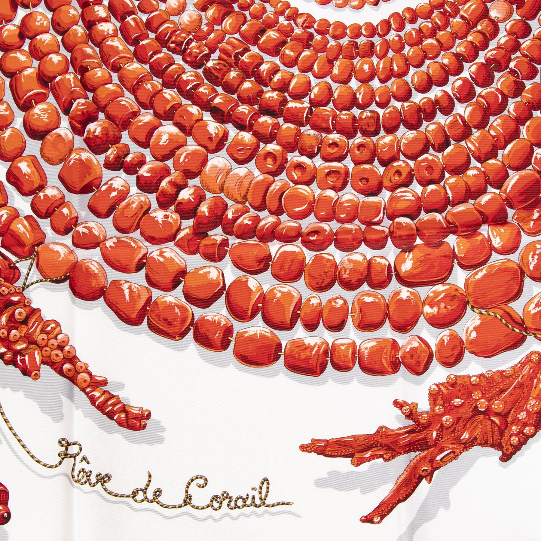 Authentieke tweedehands vintage Hermès Carre Rêve De corail Scarf koop online webshop LabelLOV