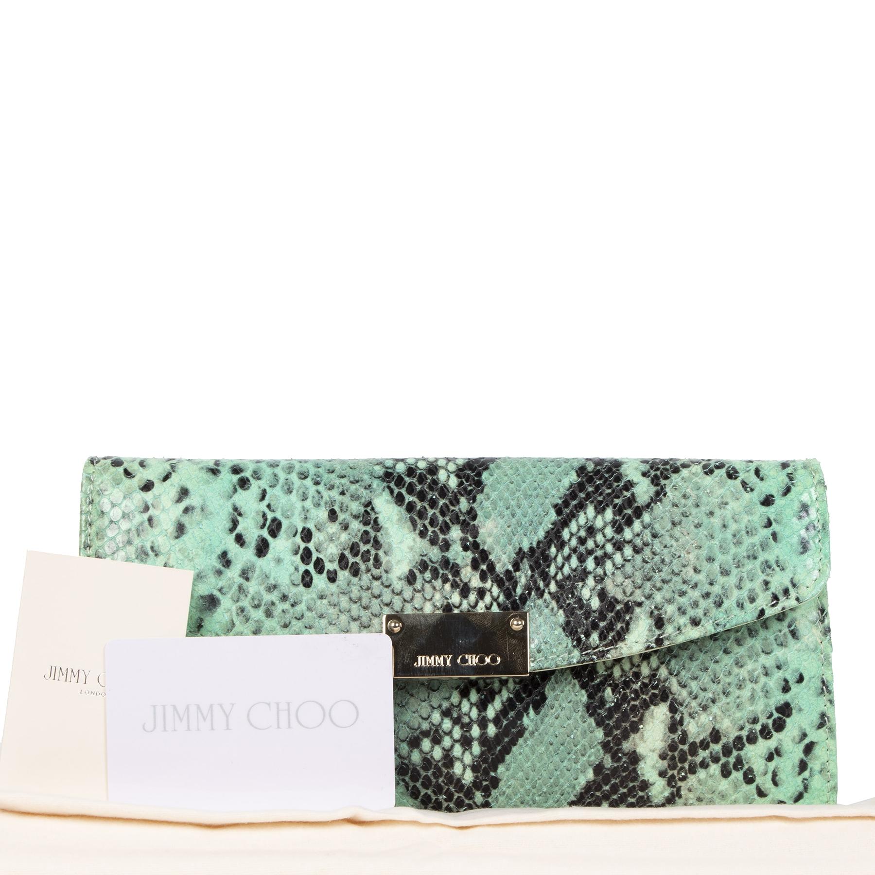 Jimmy Choo Green Python Clutch kopen en verkopen aan de beste prijs bij Labellov tweedehands luxe