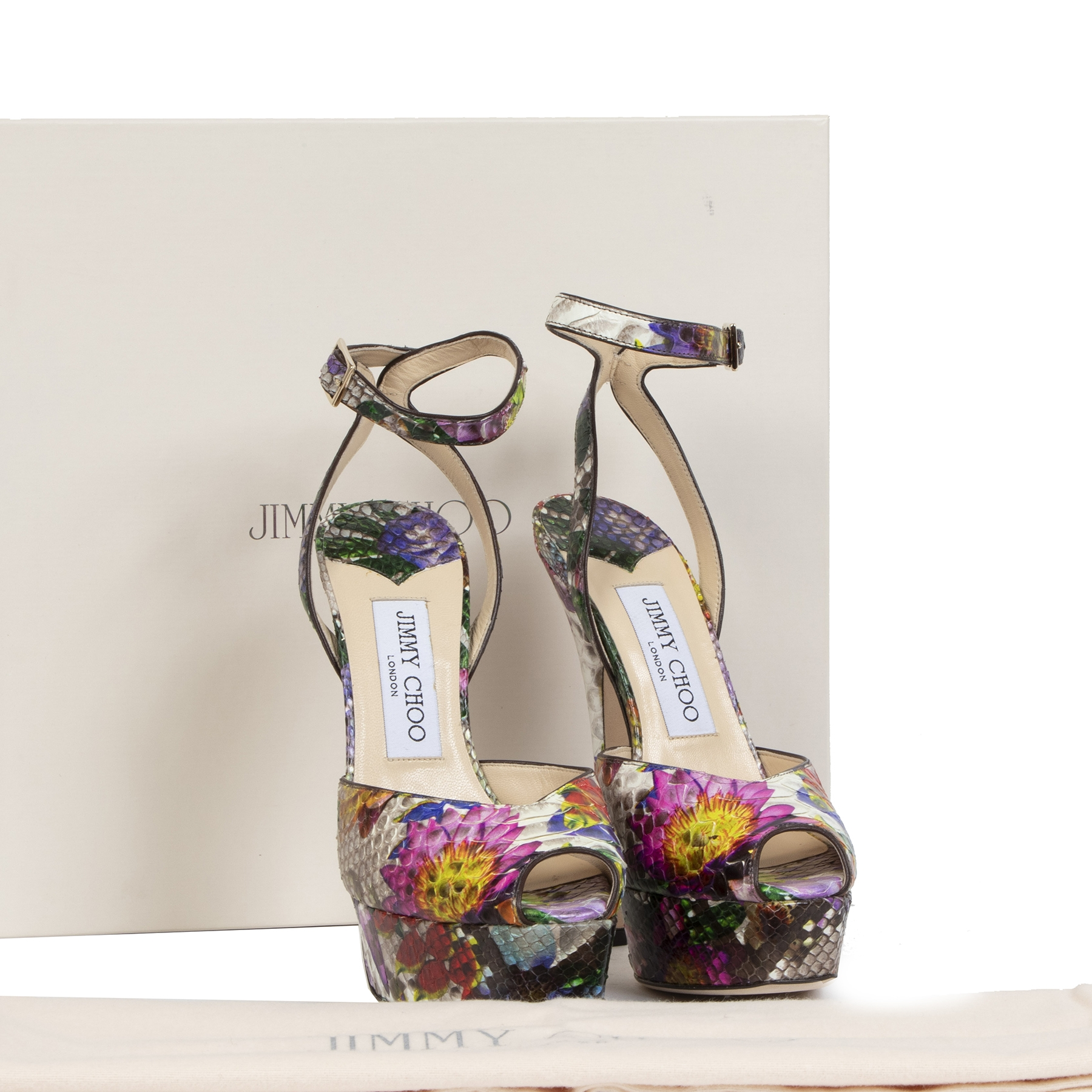 Jimmy Choo Floral Print Python Multicolor Sandals - size 35