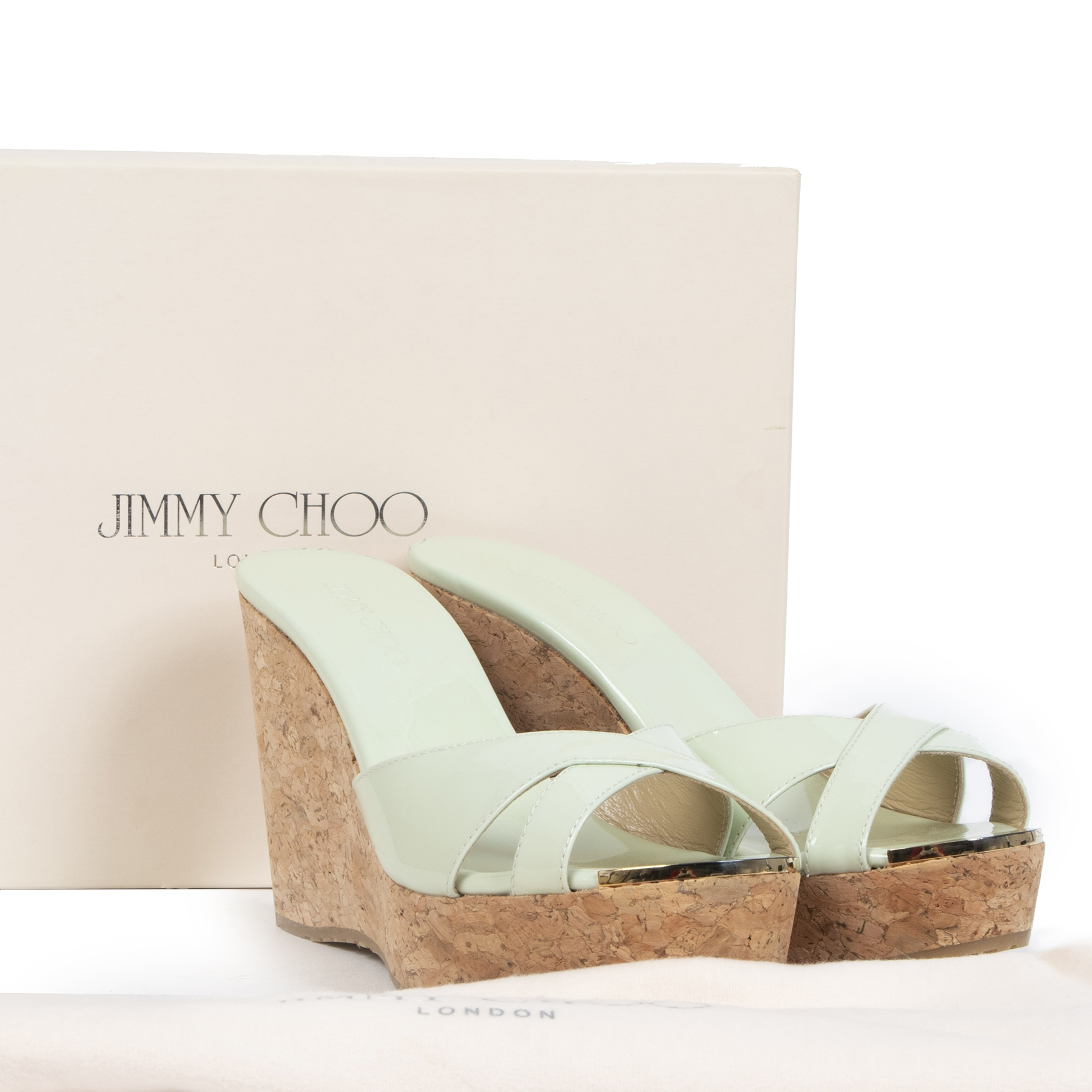 Are you buying and selling your authentic Jimmy Choo Keylime Green Patent Wedges - size 35