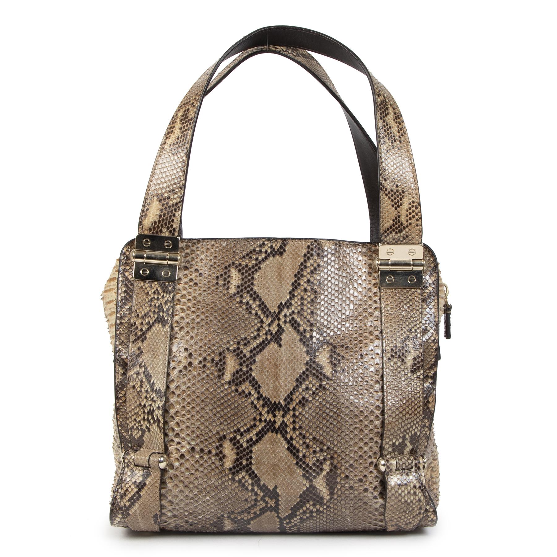 Authentieke Tweedehands Jimmy Choo Python Shoulder Bag juiste prijs veilig online shoppen luxe merken webshop winkelen Antwerpen België mode fashion