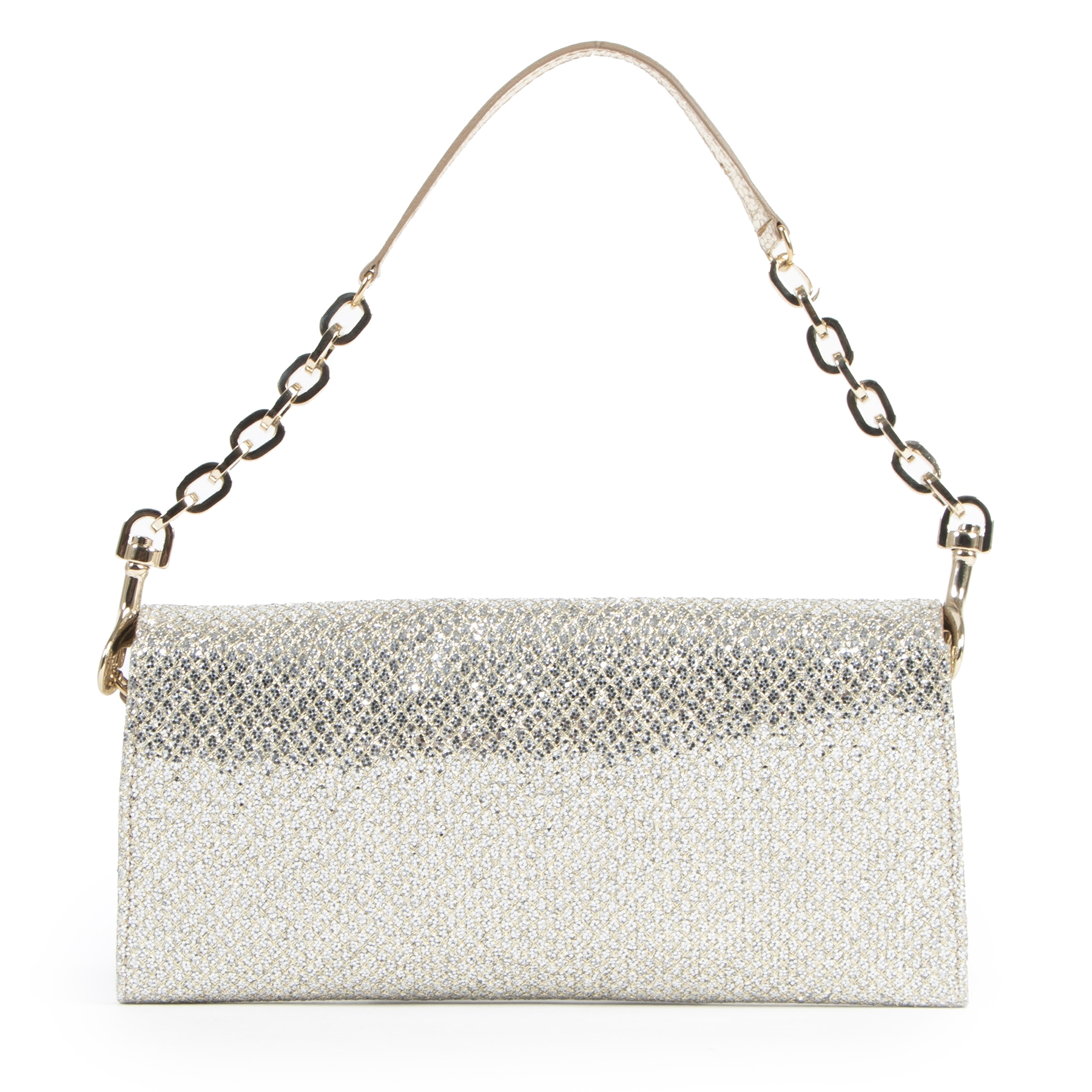 shop safe online Jimmy Choo Silver Glitter Clutch