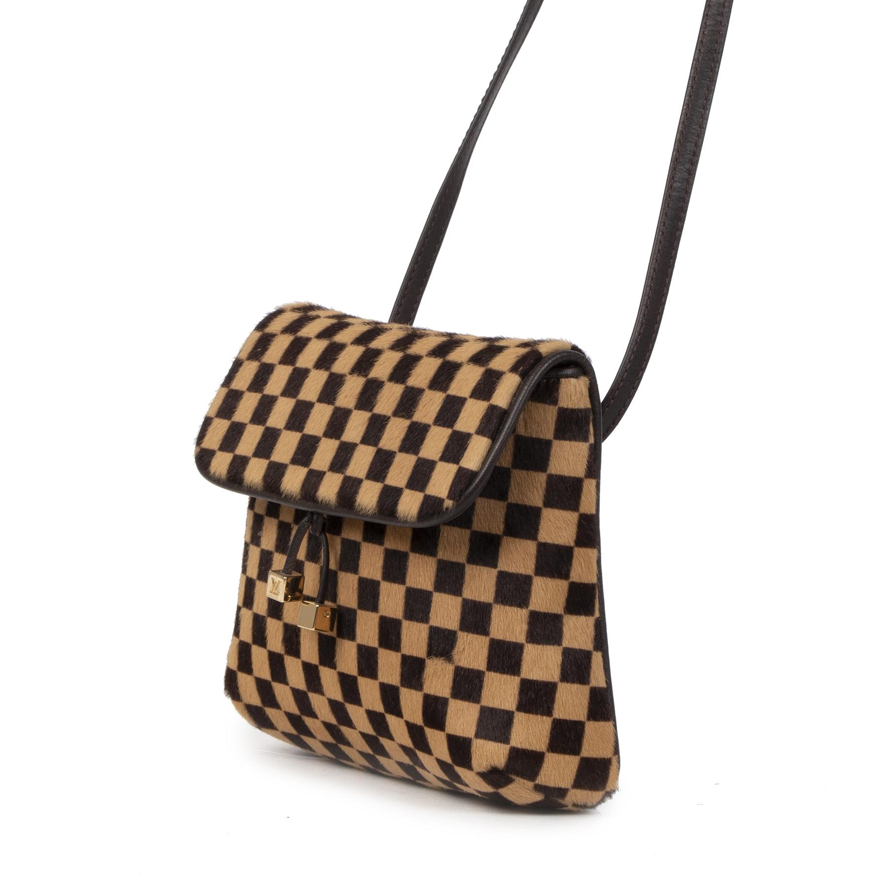 Authentieke Tweedehands Louis Vuitton Damier Pony Hair Crossbody Bag juiste prijs veilig online shoppen luxe merken webshop winkelen Antwerpen België mode fashion