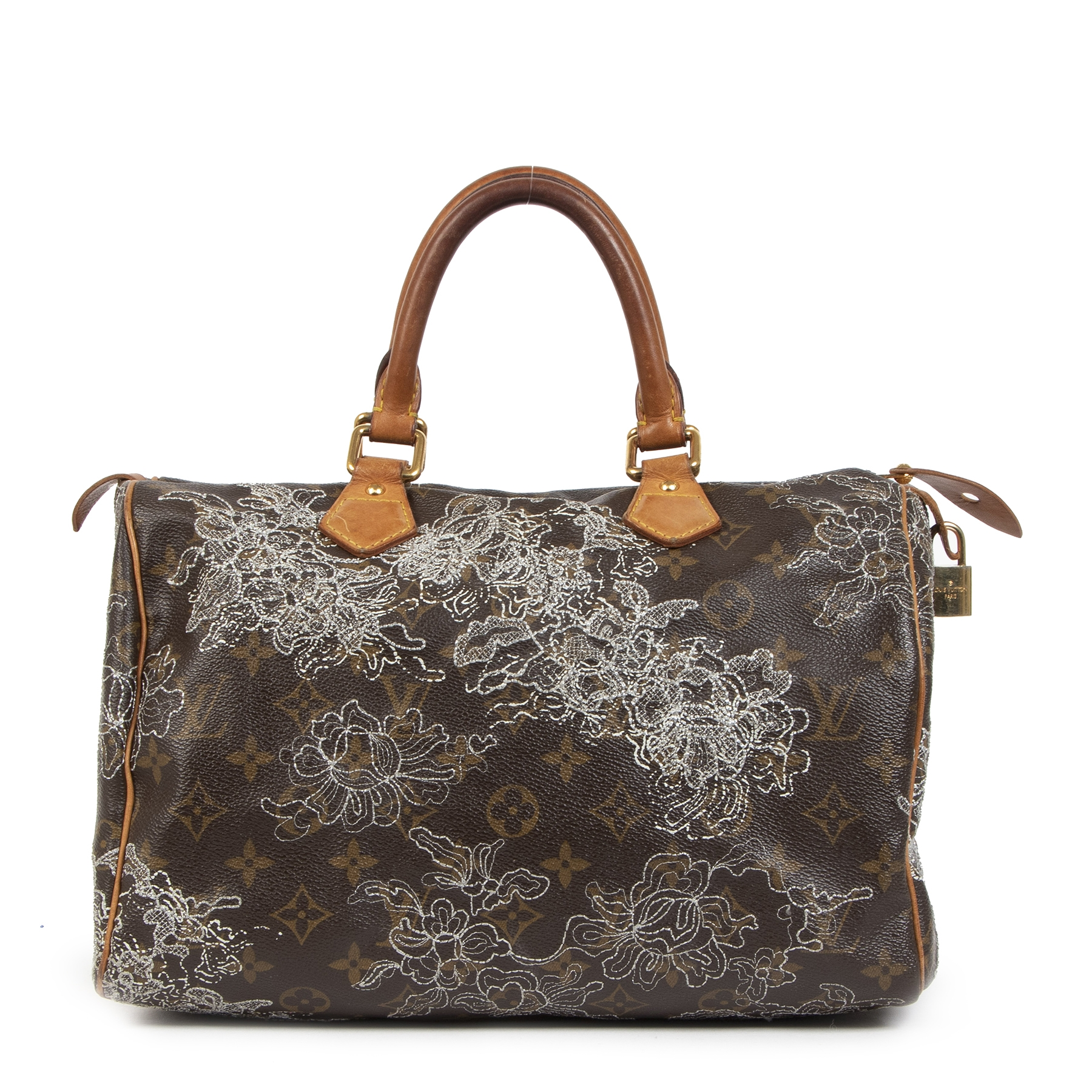 Authentieke tweedehands vintage Louis Vuitton Limited Edition Speedy Dentelle 30 Bag koop online webshop LabelLOV