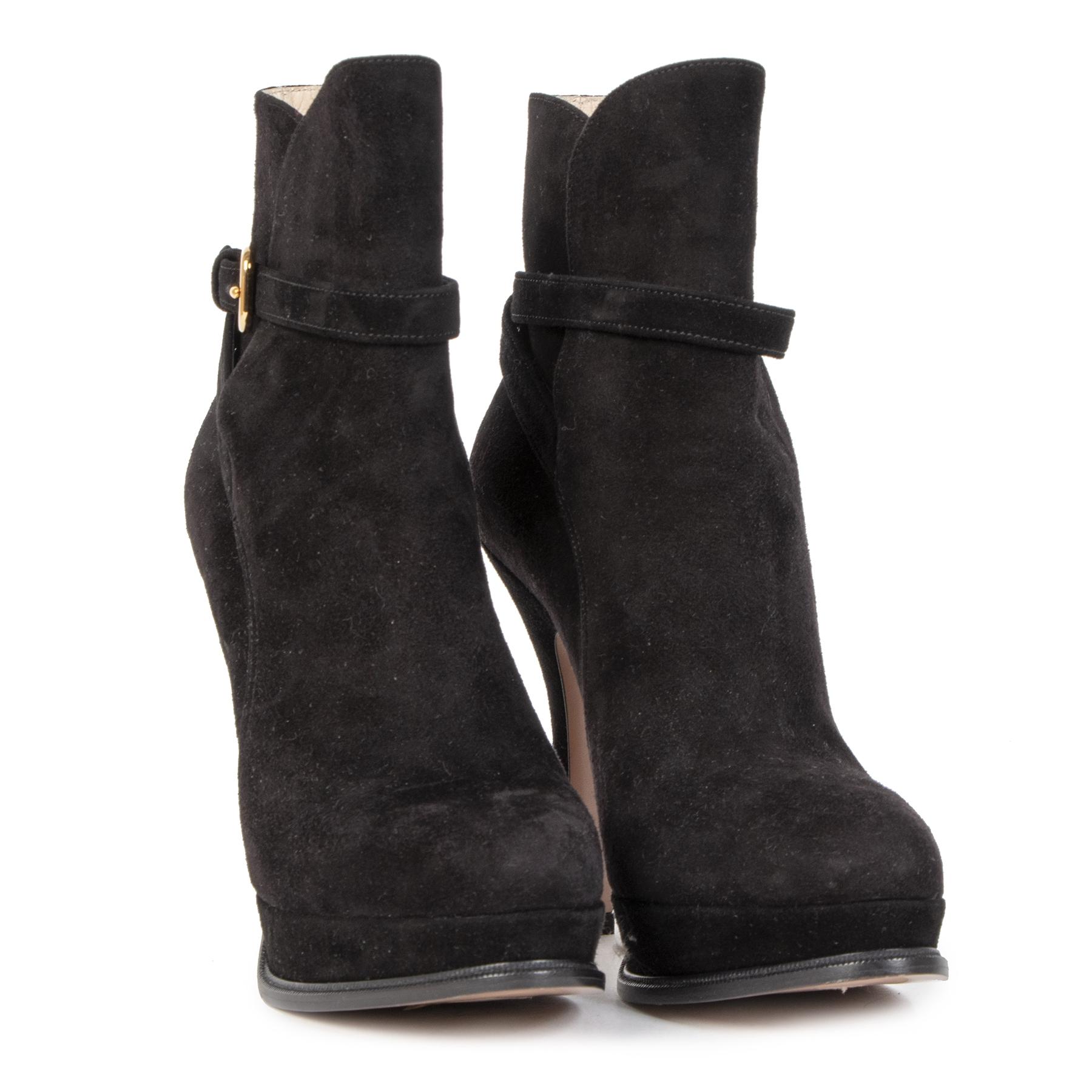 Authentieke Tweedehands Prada Black Suede Platform Ankle Boots - Size 36 juiste prijs veilig online shoppen luxe merken webshop winkelen Antwerpen België mode fashion
