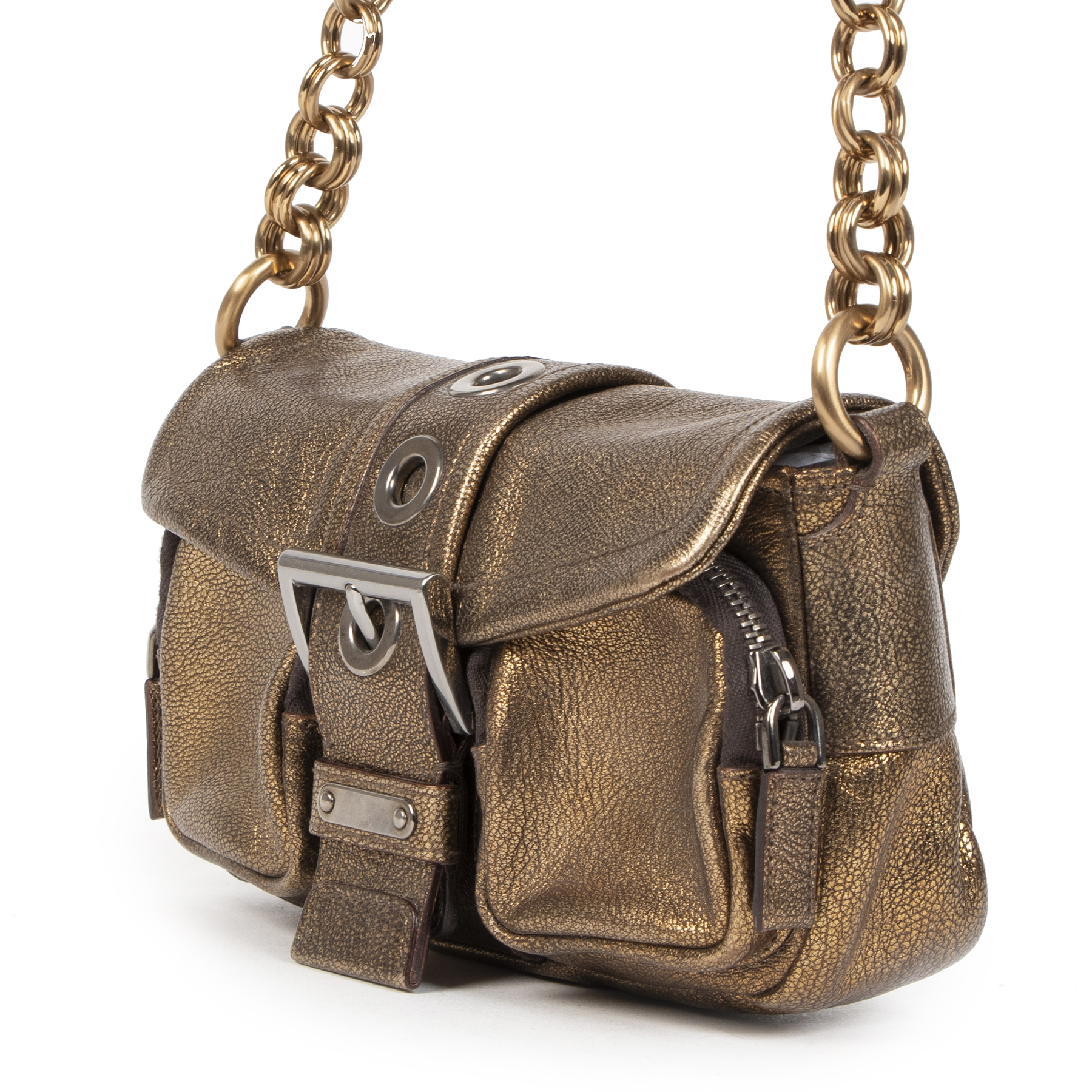 Authentieke tweedehands vintage Prada Bronze Sandalo Mini Pocket Bag koop online webshop LabelLOV