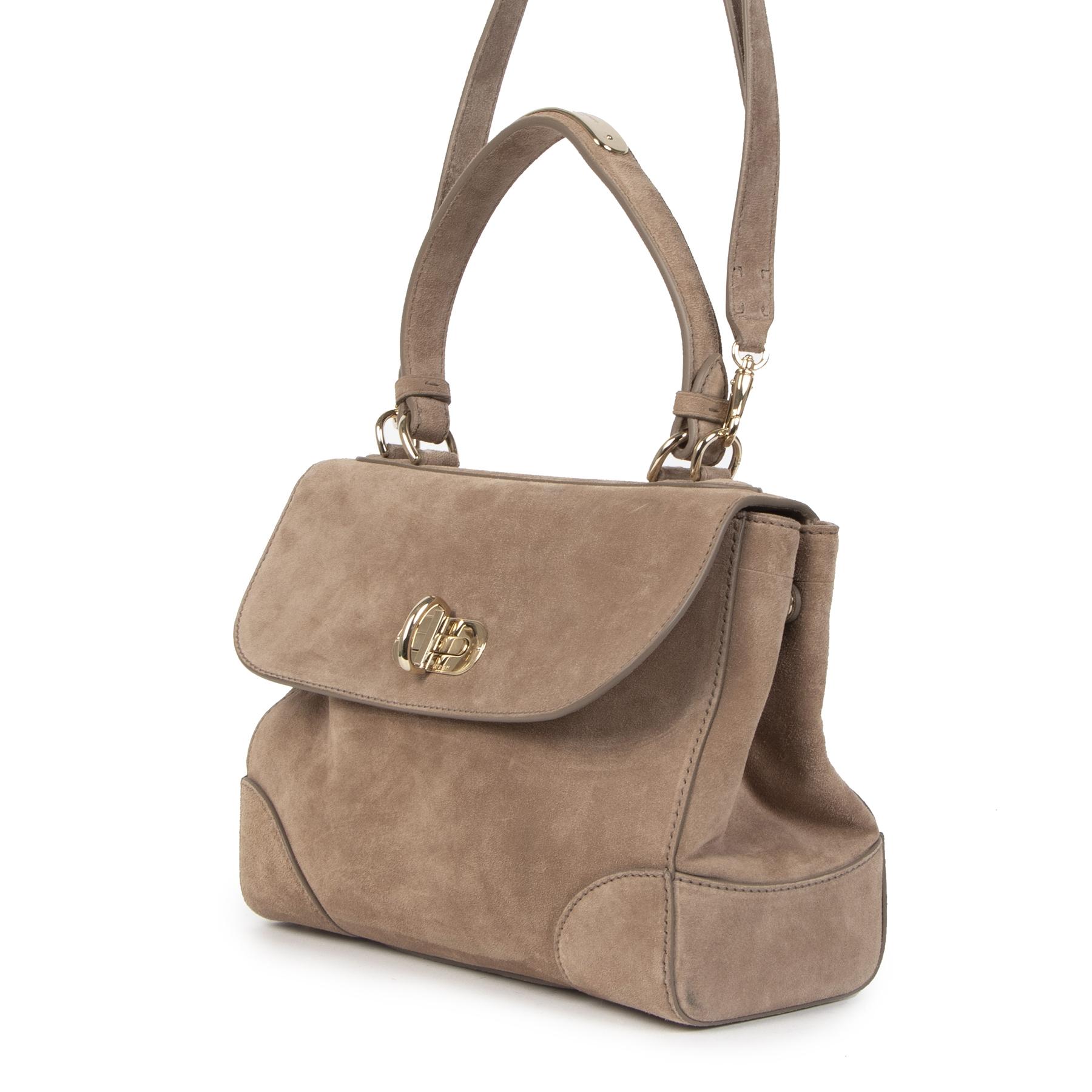 Authentieke Tweedehands Ralph Lauren Taupe Suede Shoulder Bag juiste prijs veilig online shoppen luxe merken webshop winkelen Antwerpen België mode fashion
