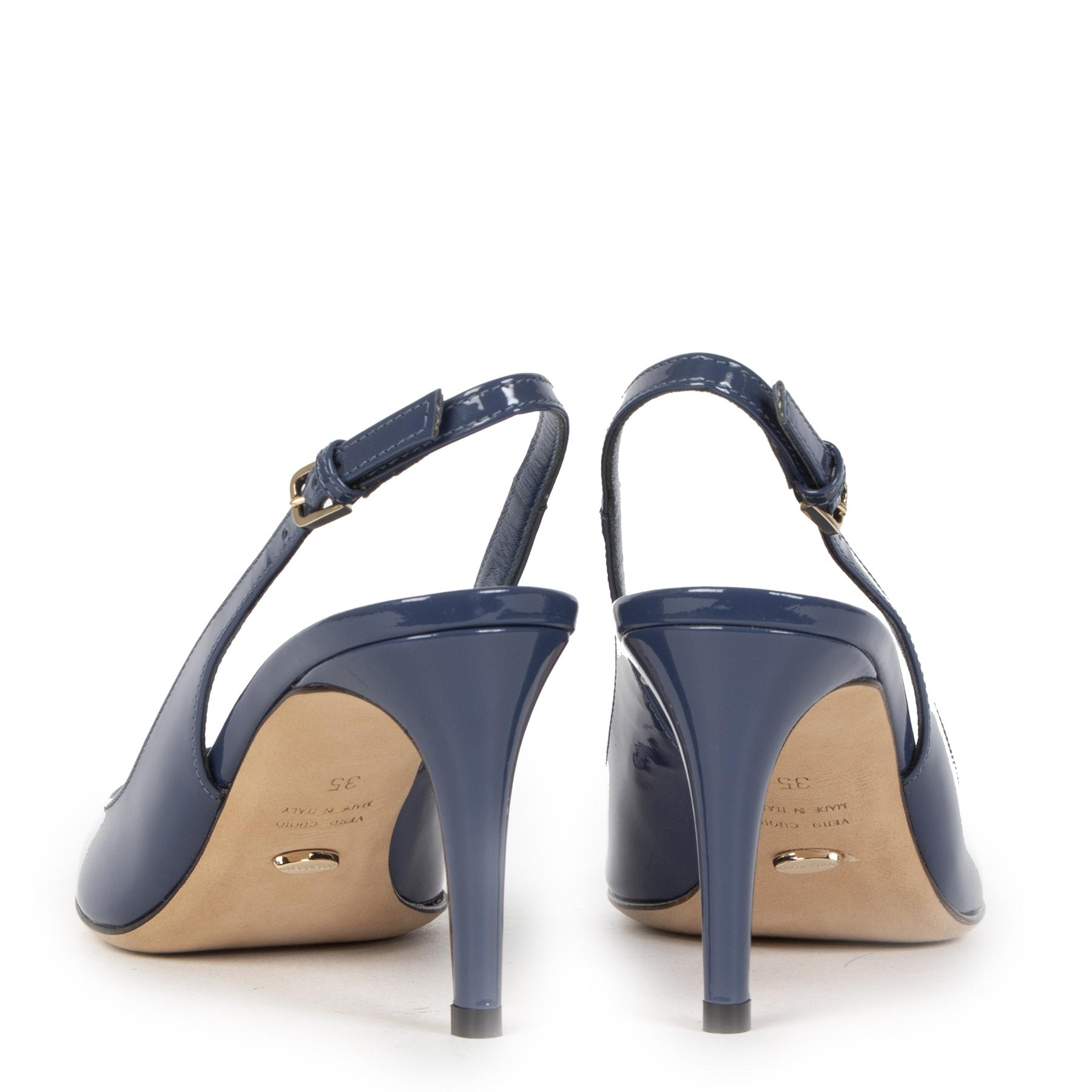 Authentieke Tweedehands Sergio Rossi Blue Patent Leather Heels - Size 35 juiste prijs veilig online shoppen luxe merken webshop winkelen Antwerpen België mode fashion