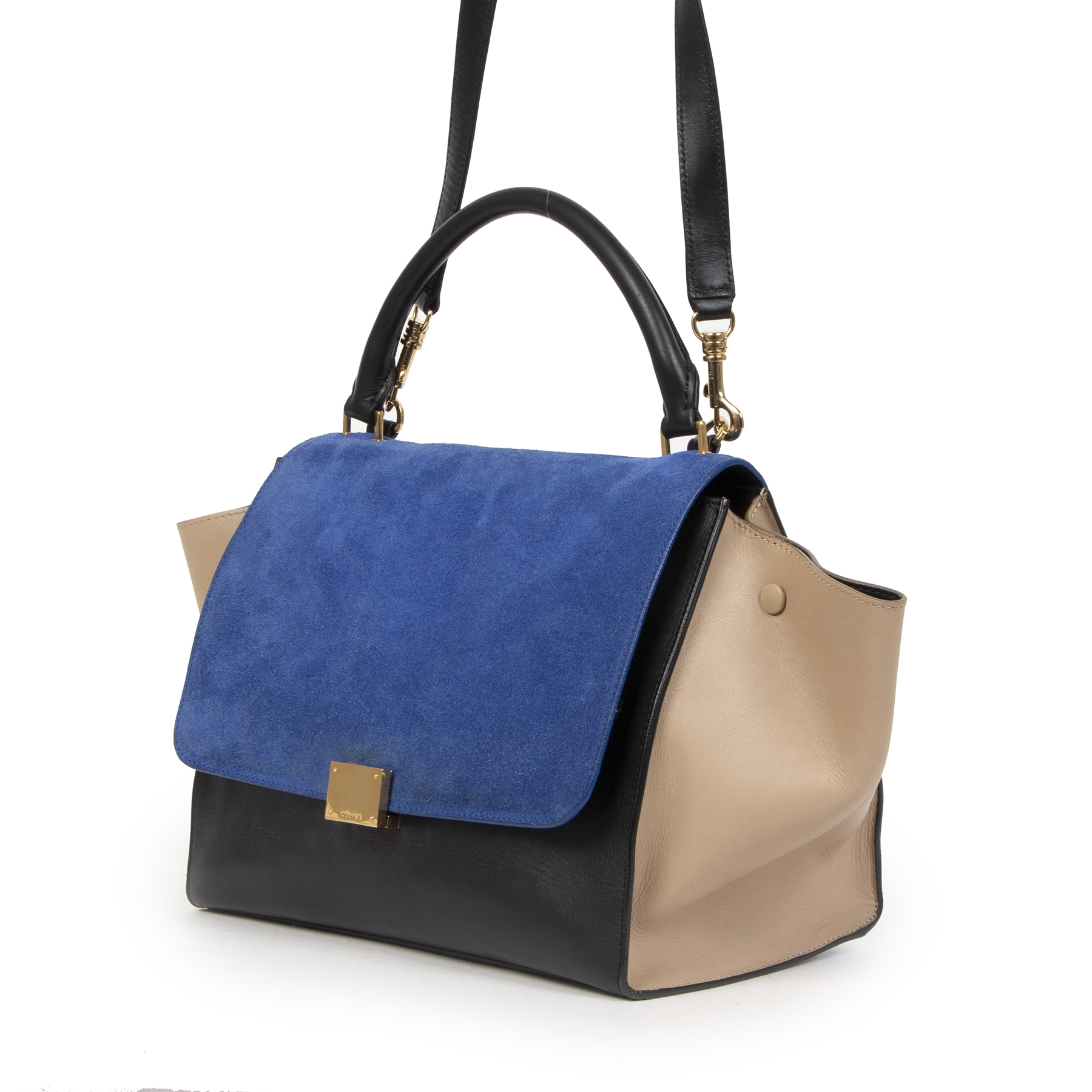 shop safe online secondhand Celine Small Tricolor Trapeze Bag