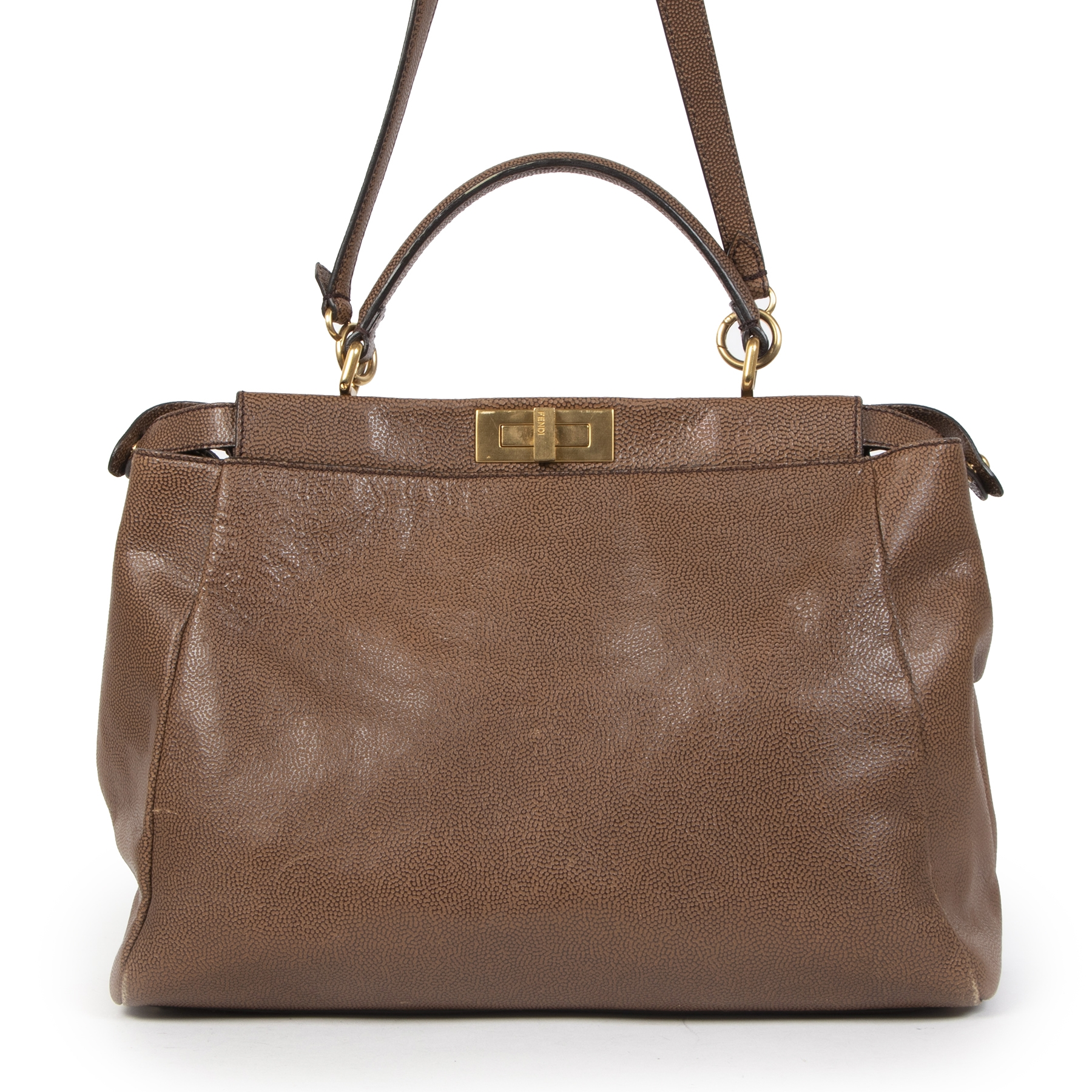 Fendi Peekaboo Large Pebbled and Patent Leather Bag