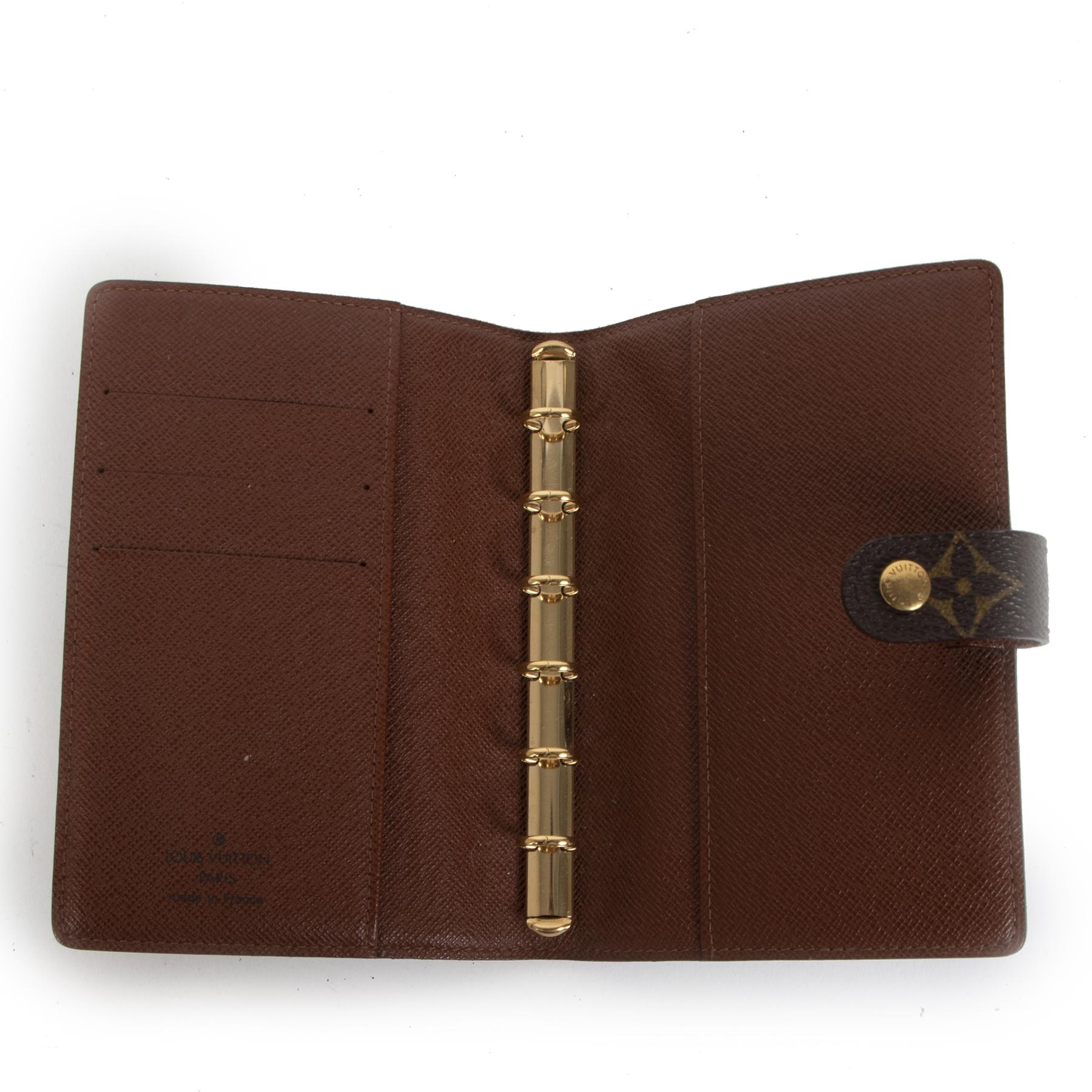 Authentieke tweedehands vintage Louis Vuitton Small Ring Agenda Cover koop online webshop LabelLOV