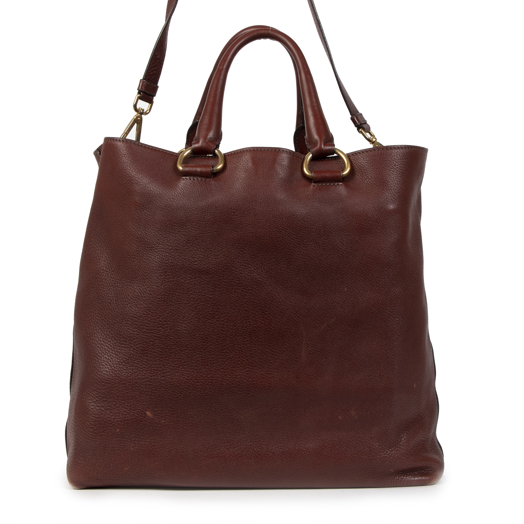 We buy and sell your authentic Prada Daino Burgundy Tote Bag  for the best price