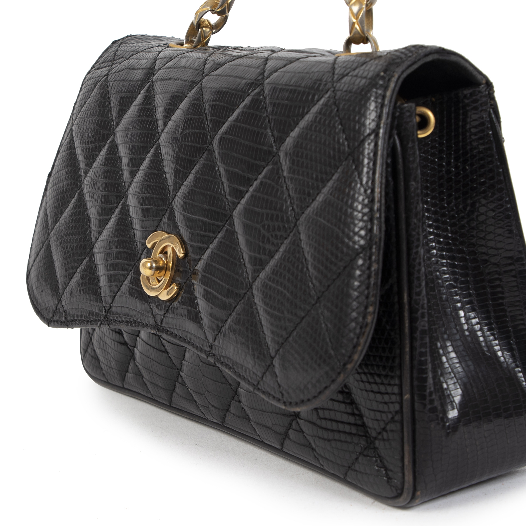 Chanel Vintage Black Lizard Evening Bag  veilig online