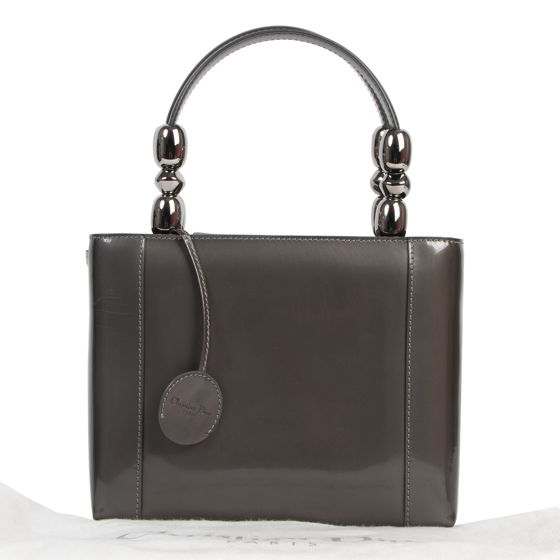 Authentieke tweedehands vintage Christian Dior Malice Grey Top Handle Bag koop online webshop LabelLOV