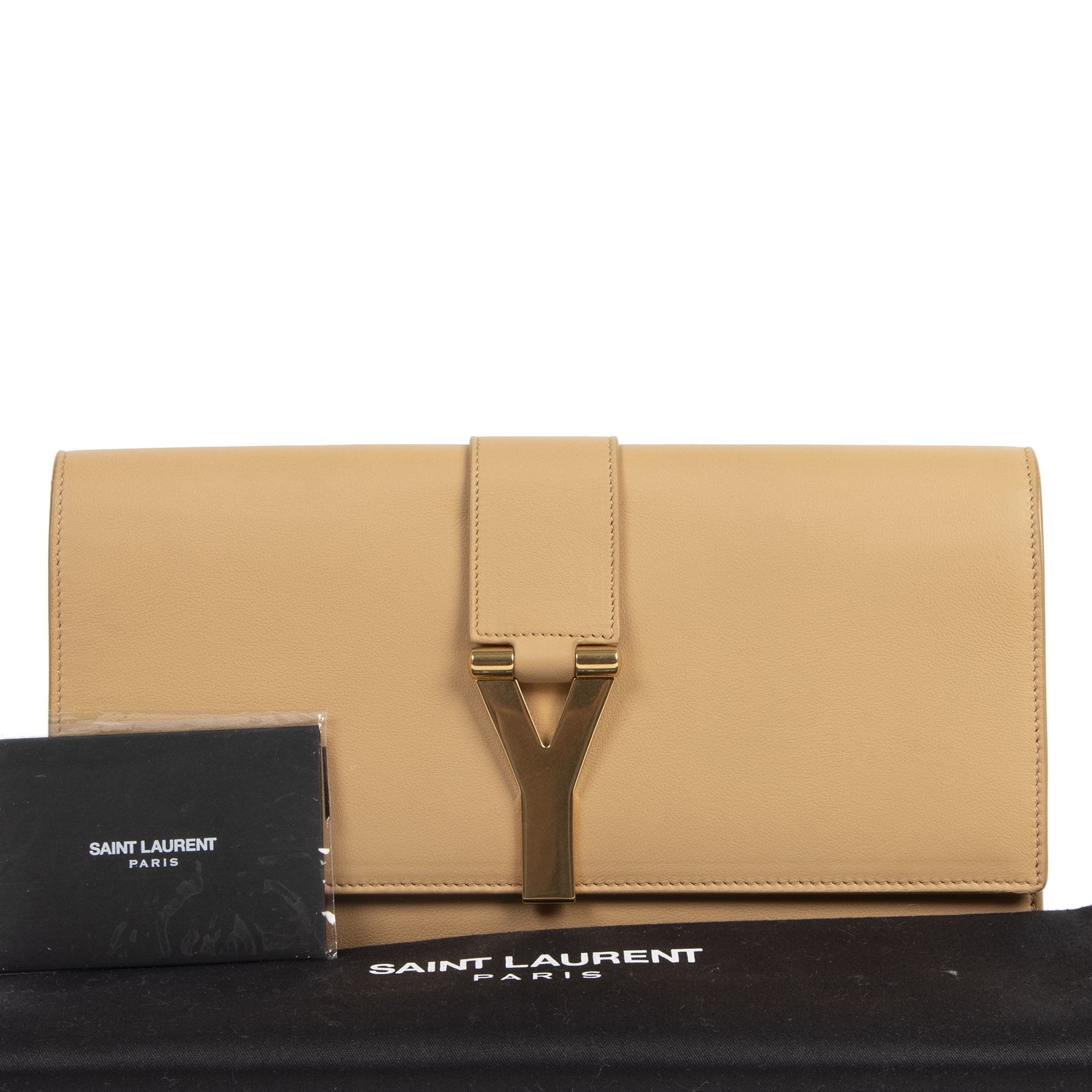 Authentic secondhand Saint Laurent Camel Leather Y Clutch designer bags fashion luxury vintage webshop safe secure online shopping