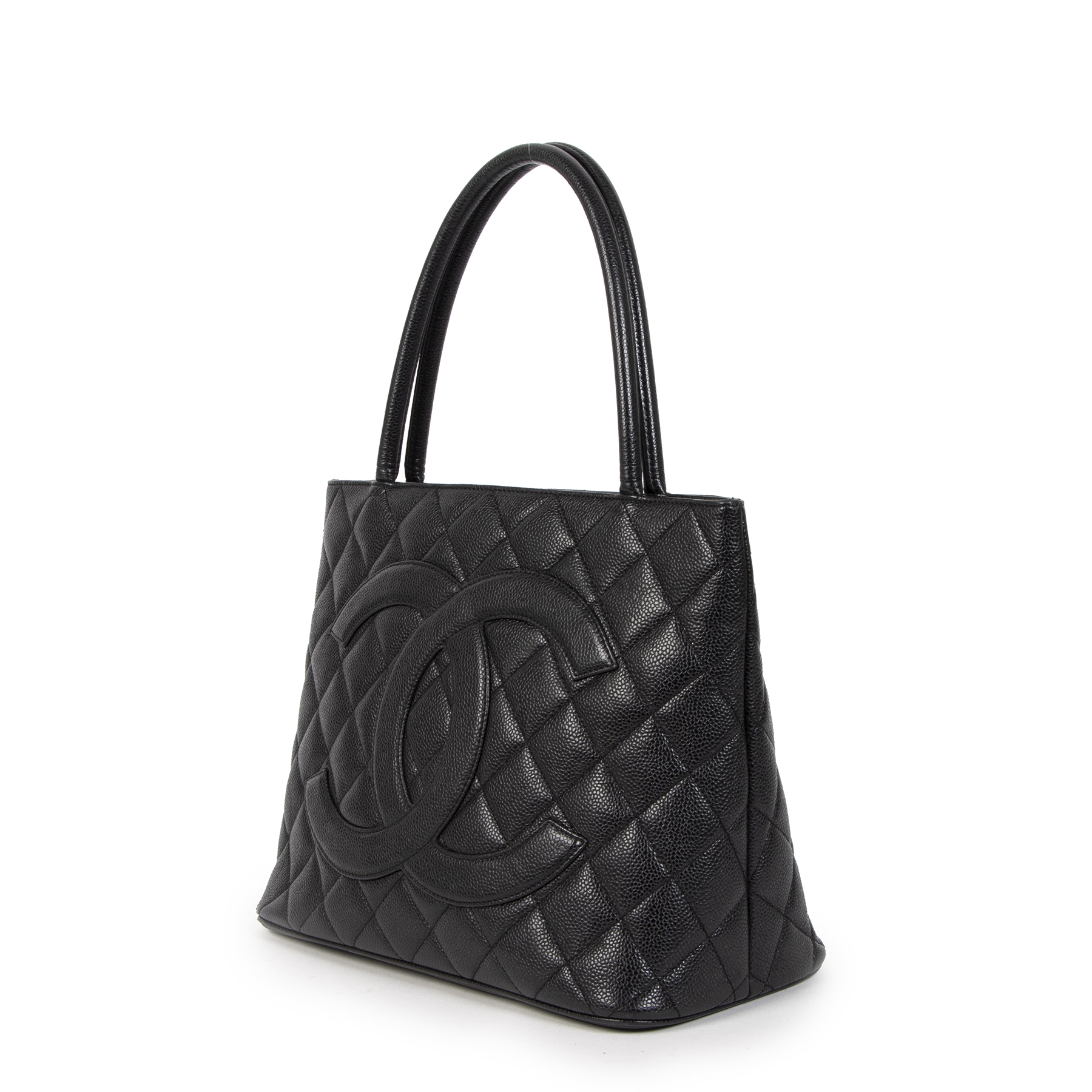 Buy Authentic Secondhand Chanel Black Caviar Medallion Tote Bag at the right price safe and secure online at LabelLOV webshop Antwerp Belgium