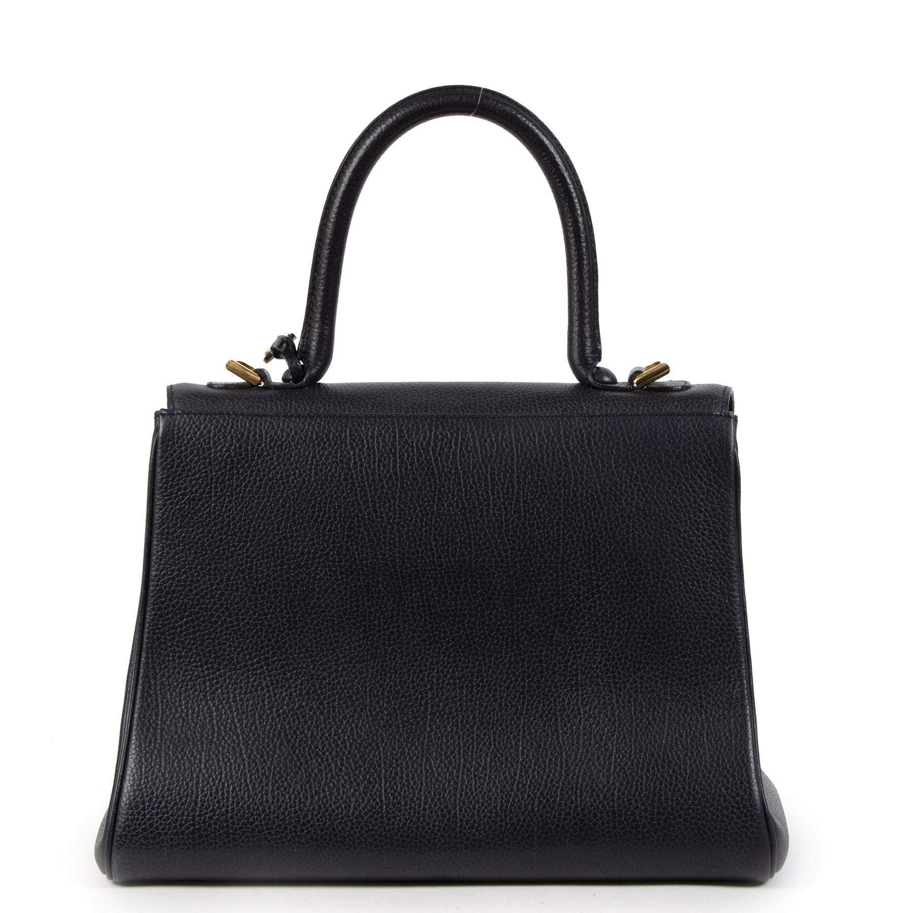 Acheter autentic Delvaux Dark Blue Brillant MM d'occasion au bon prix en toute sécurité LabelLOV boutique en ligne Anvers Belgique