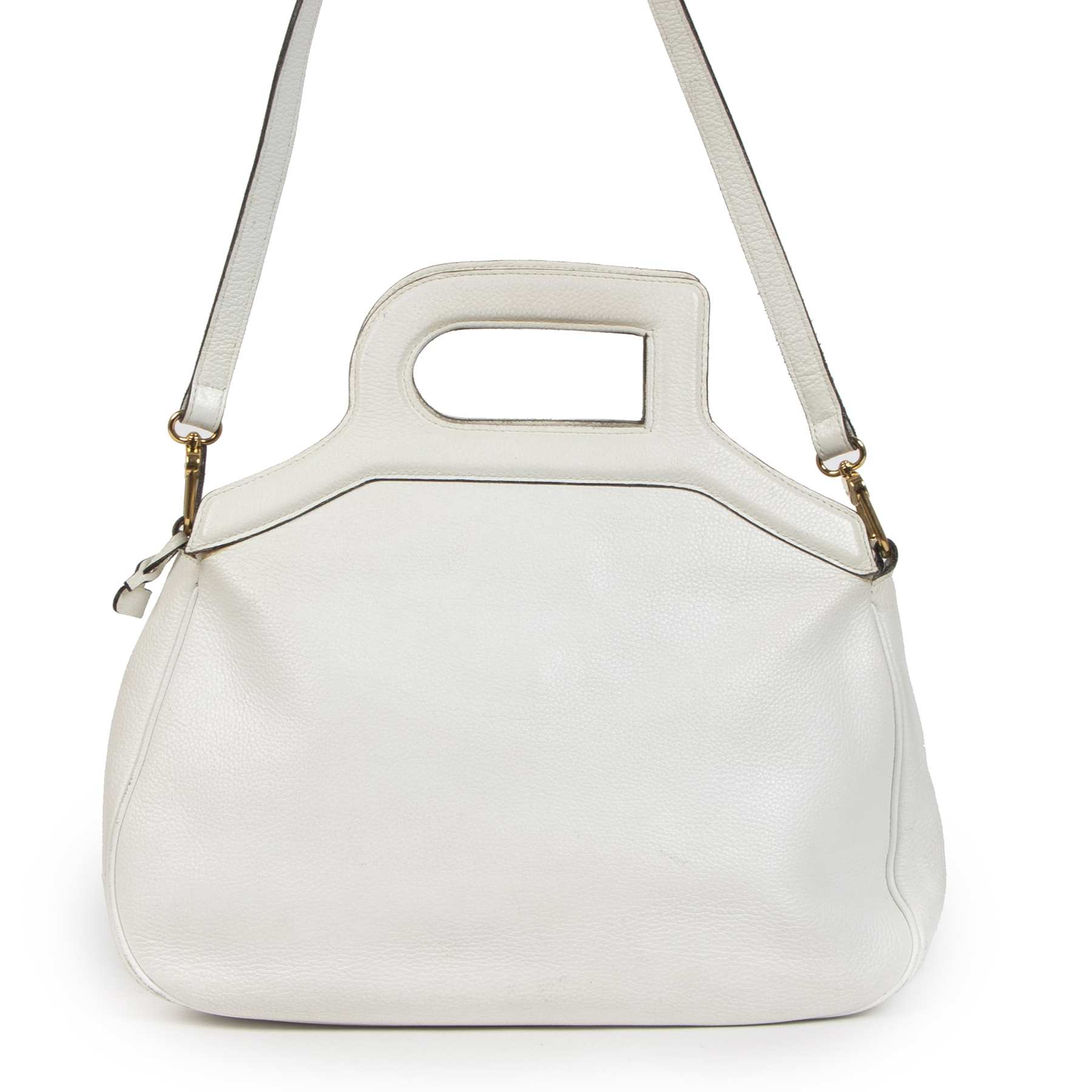 Authentieke tweedehands vintage Delvaux White D Top Handle Bag koop online webshop LabelLOV