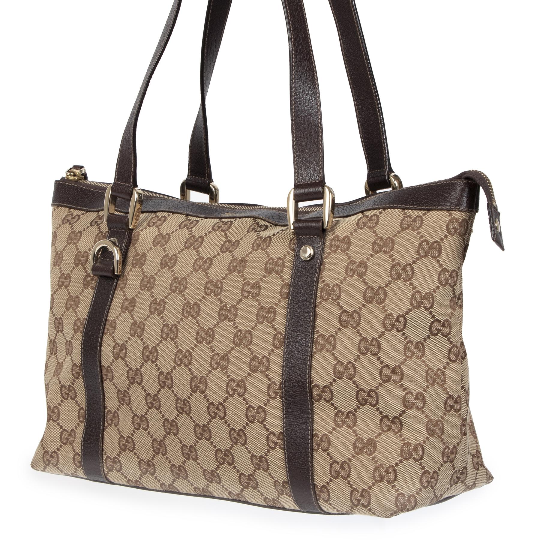 Authentieke tweedehands vintage Gucci Brown GG Shoulder Bag koop online webshop LabelLOV