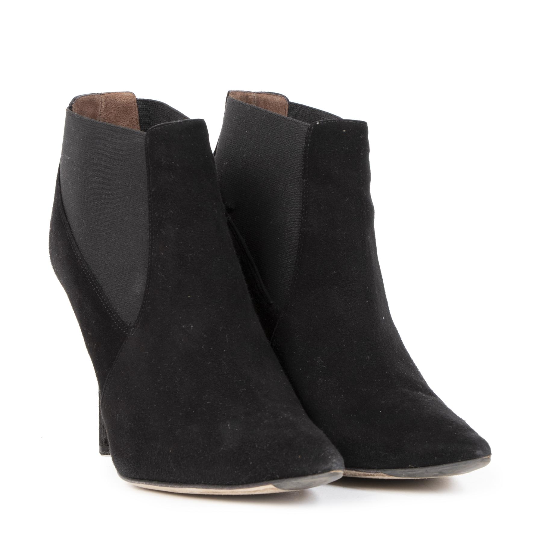 Authentieke Tweedehands Dolce & Gabbana Black Suede Ankle Booties - size 39,5 juiste prijs veilig online shoppen luxee merken webshop winkelen Antwerpen België mode fashion