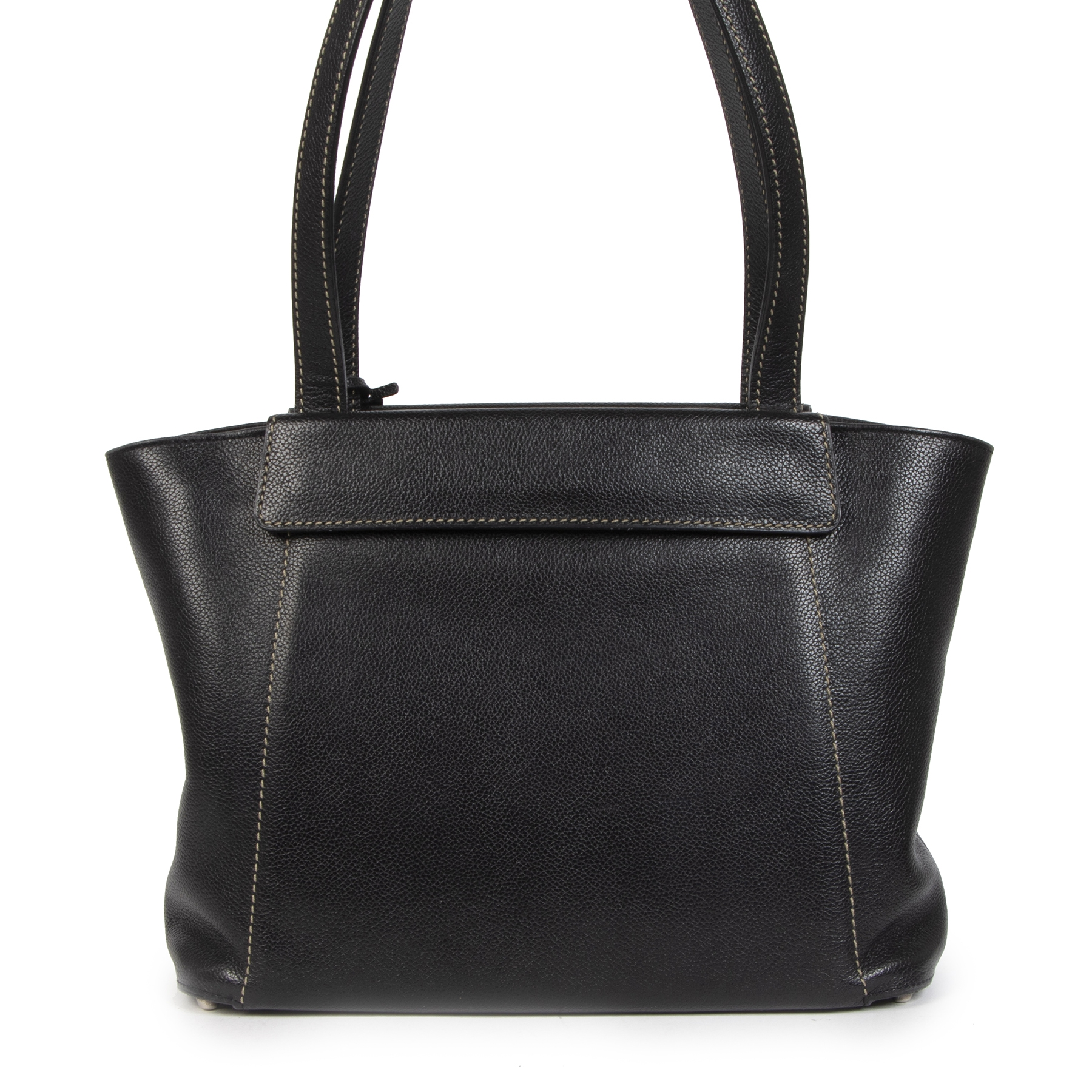Authentieke tweedehands vintage Delvaux Black Grey Flap Shoulder Bag koop online webshop LabelLOV