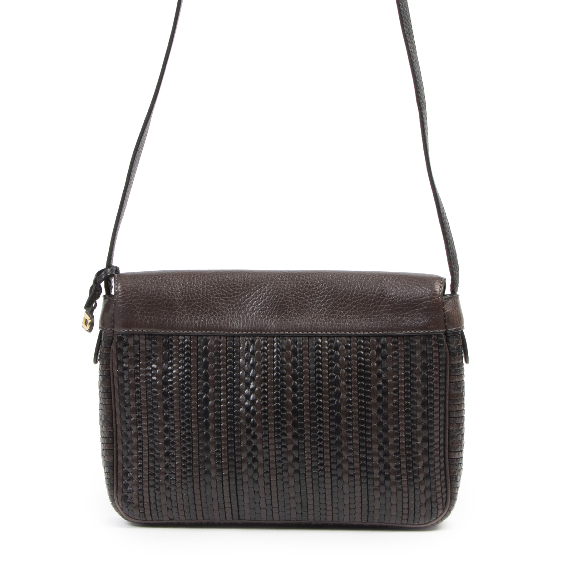 Authentieke tweedehands vintage Delvaux Toile De Cuir Crossbody Bag koop online webshop LabelLOV