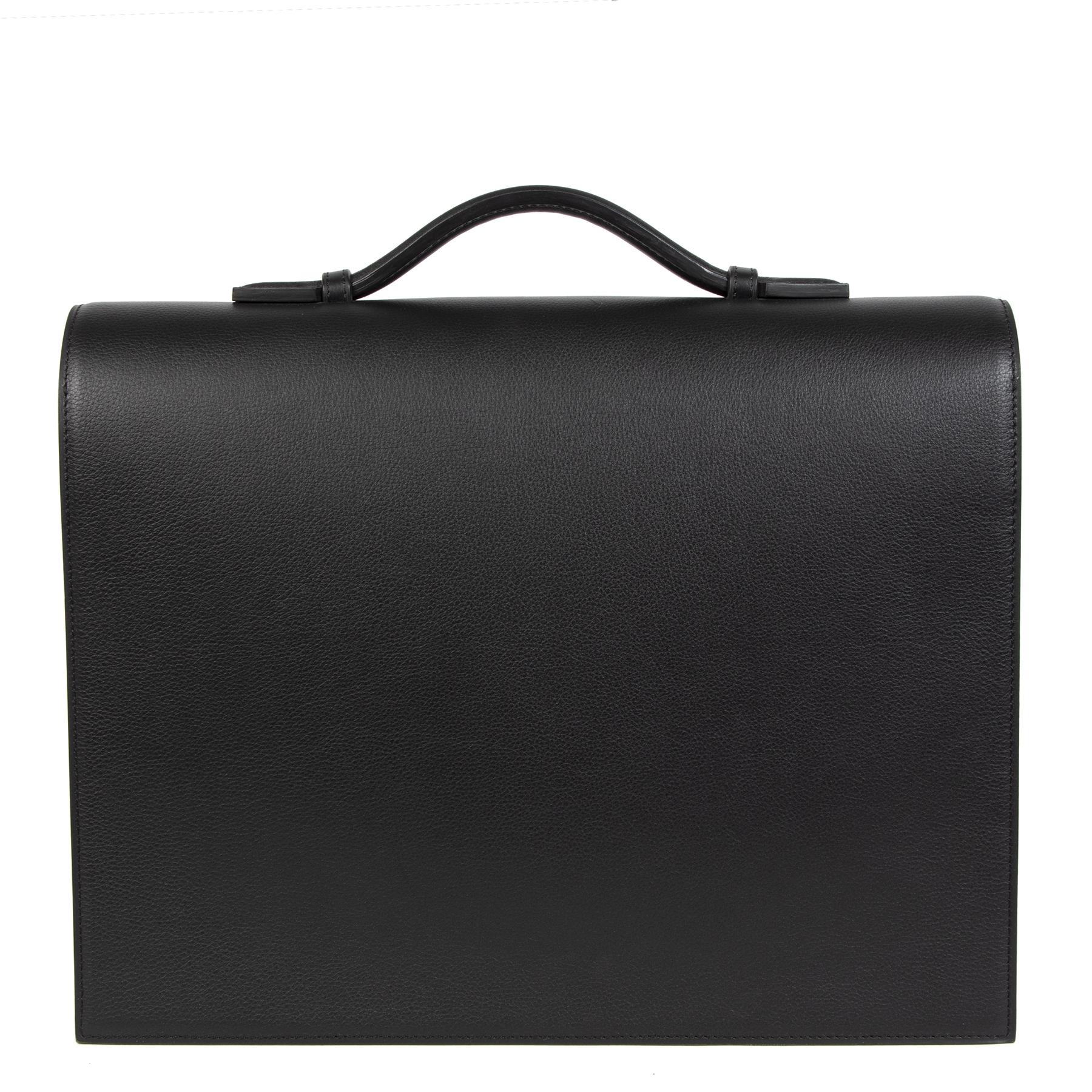 Authentieke tweedehands vintage Delvaux Black Briefcase koop online webshop LabelLOV