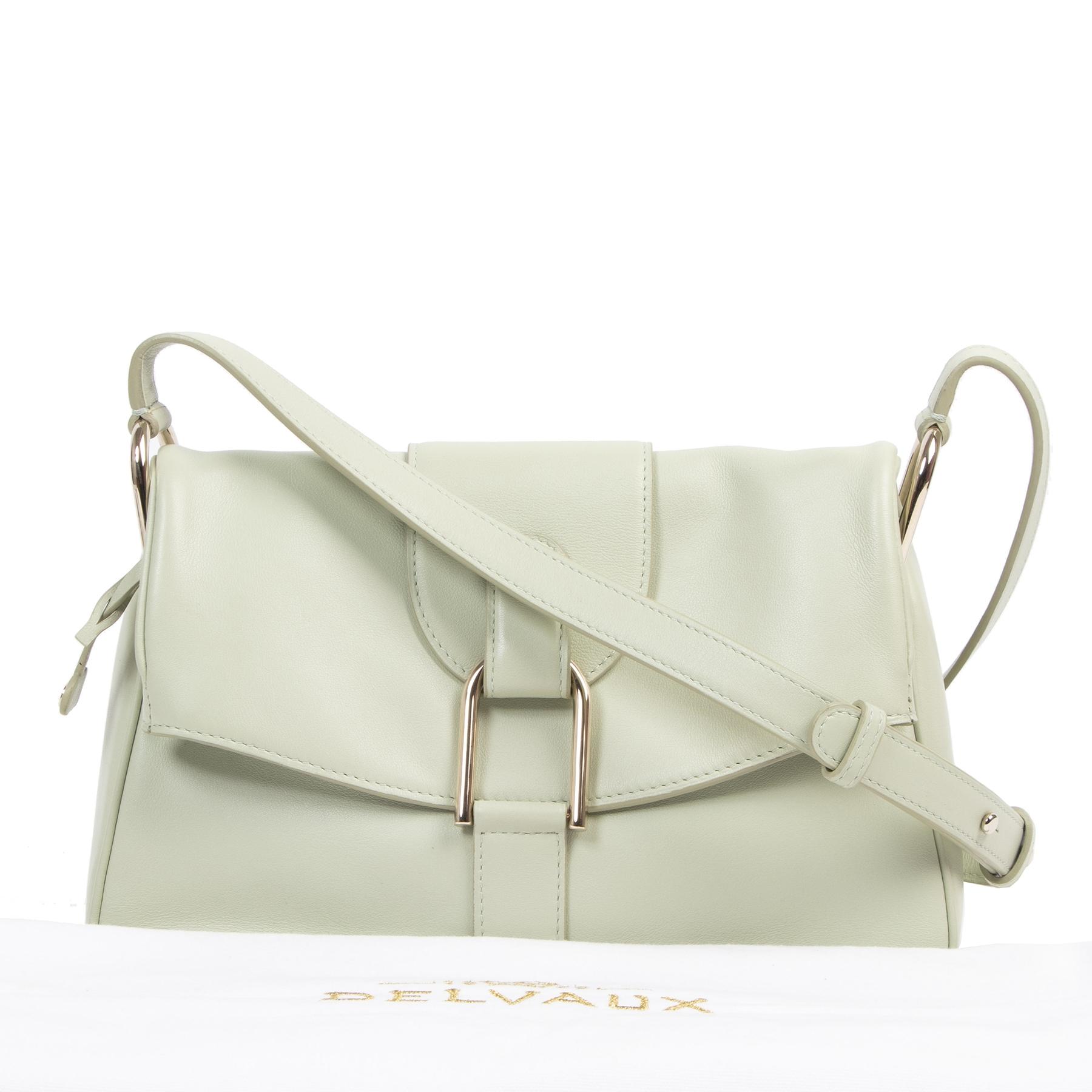 Authentieke tweedehands vintage Delvaux Mint Givry Crossbody Bag koop online webshop LabelLOV