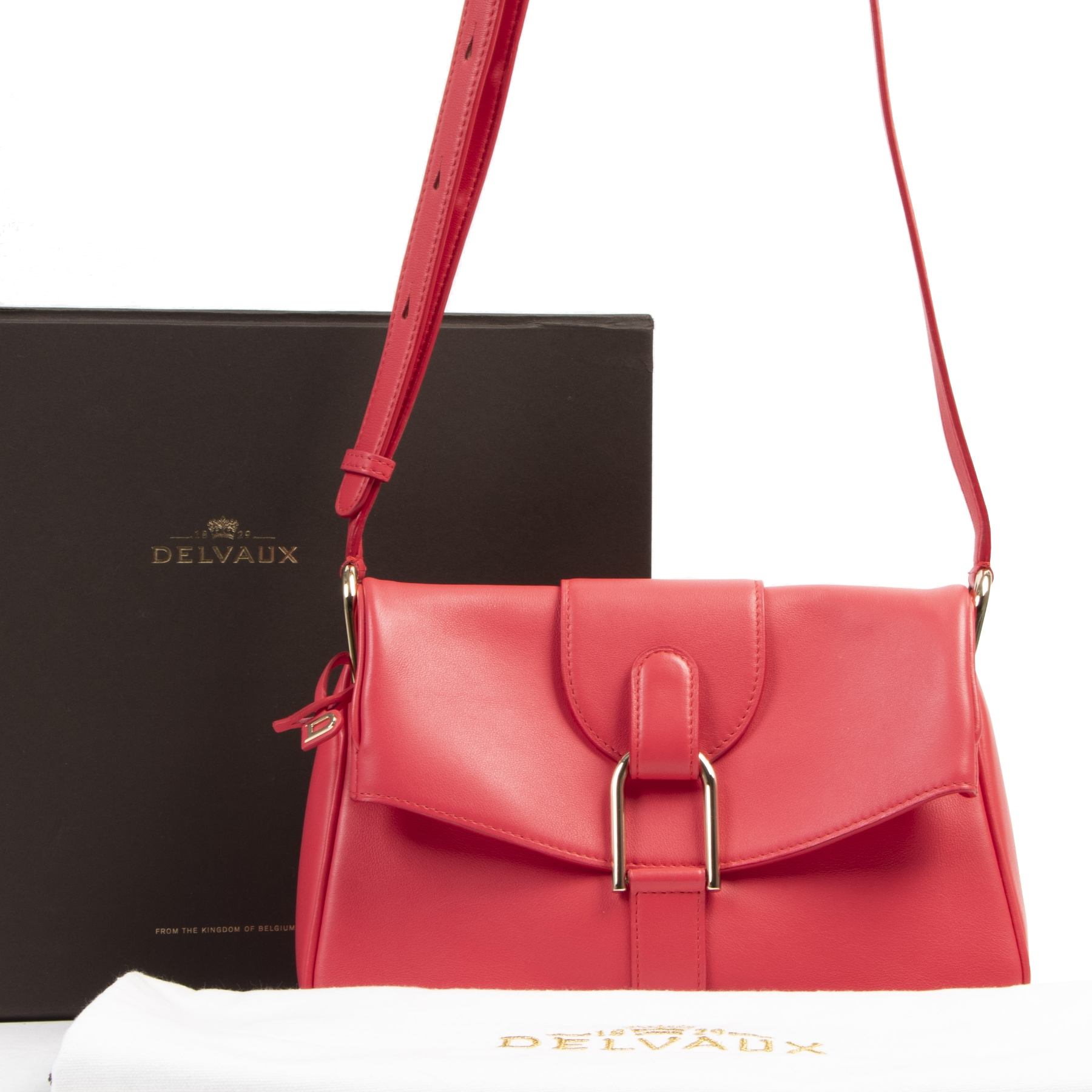 Authentieke tweedehands vintage Delvaux Red Givry Crossbody Bag koop online webshop LabelLOV