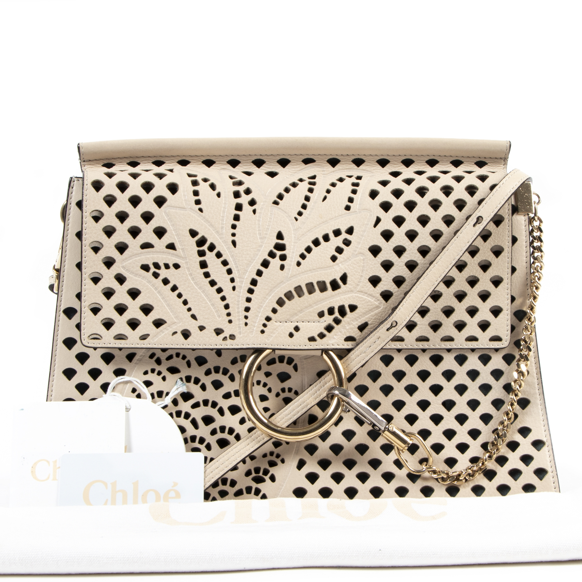 buy and sell your authentic Chloé Beige Faye Large Cut-out Shoulder Bag