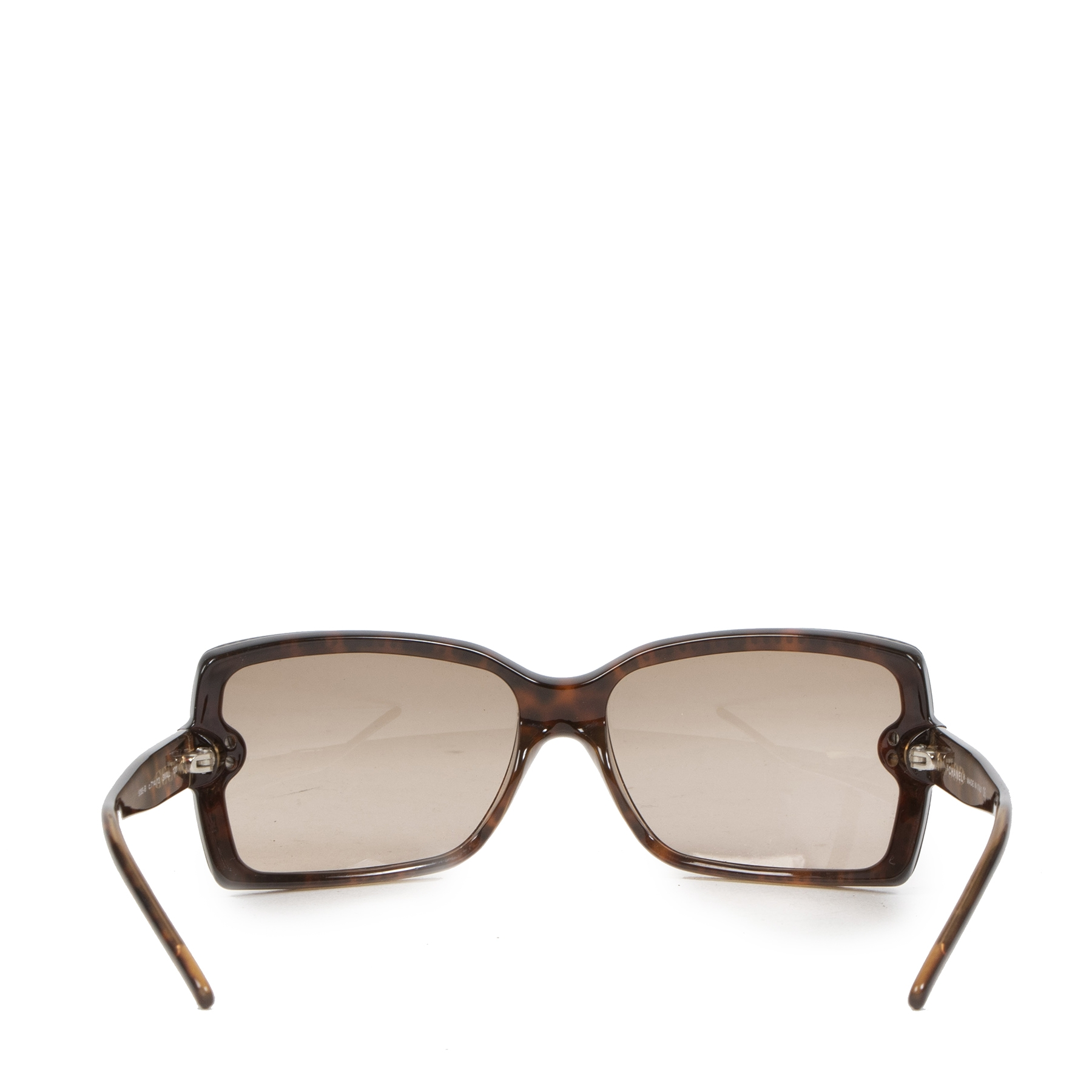 Authentieke Tweedehands Chanel Rhinestone Trim Brown Sunglasses juiste prijs veilig online shoppen luxe merken webshop winkelen Antwerpen België mode fashion